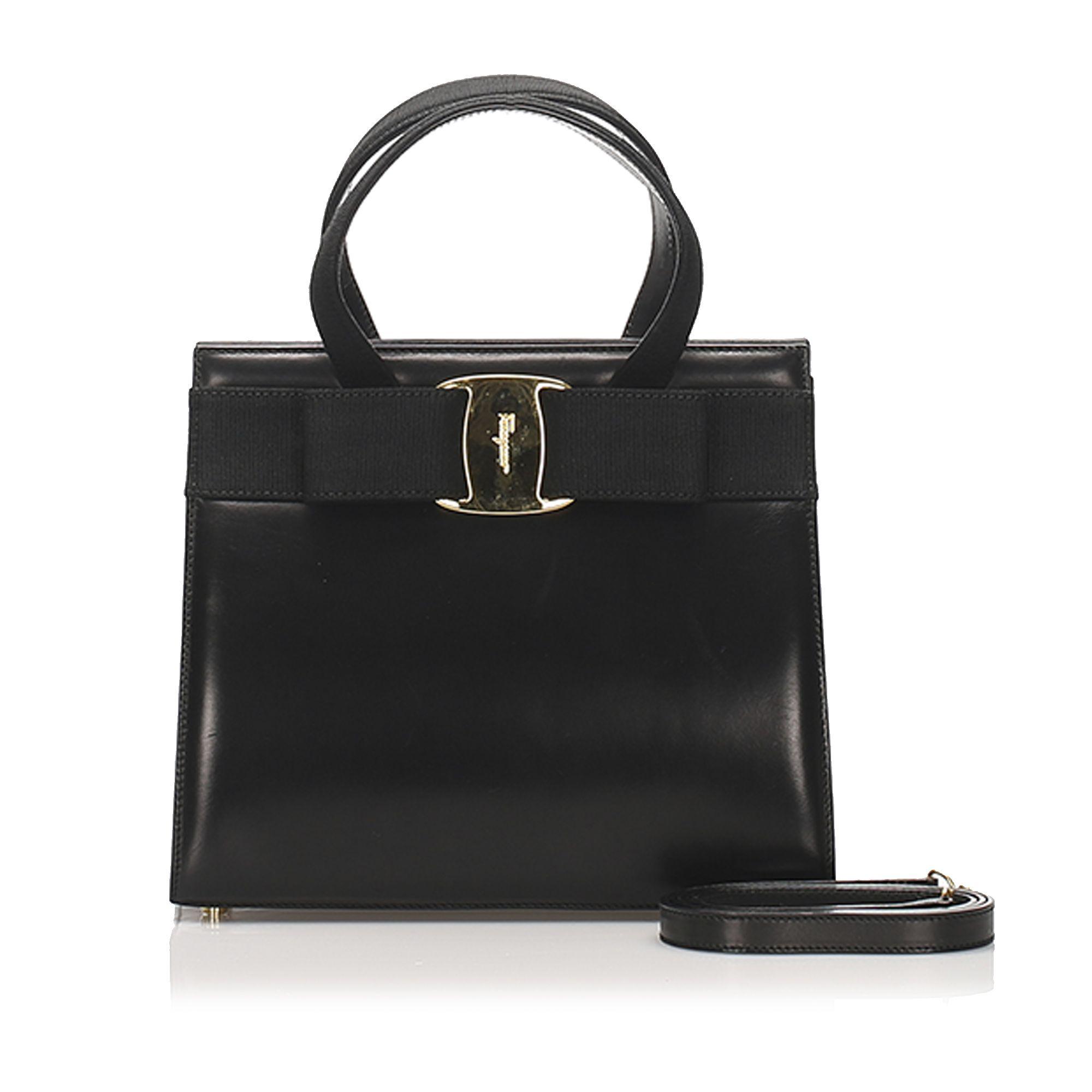 Vintage Ferragamo Vara Leather Satchel Black