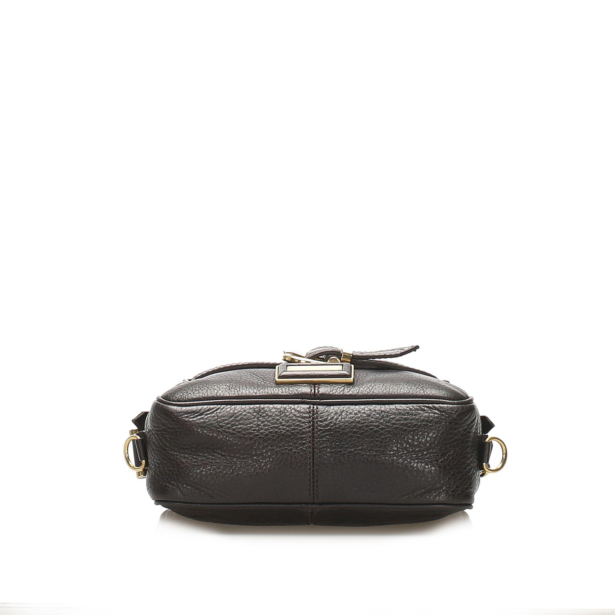 Vintage Burberry Leather Crossbody Bag Brown