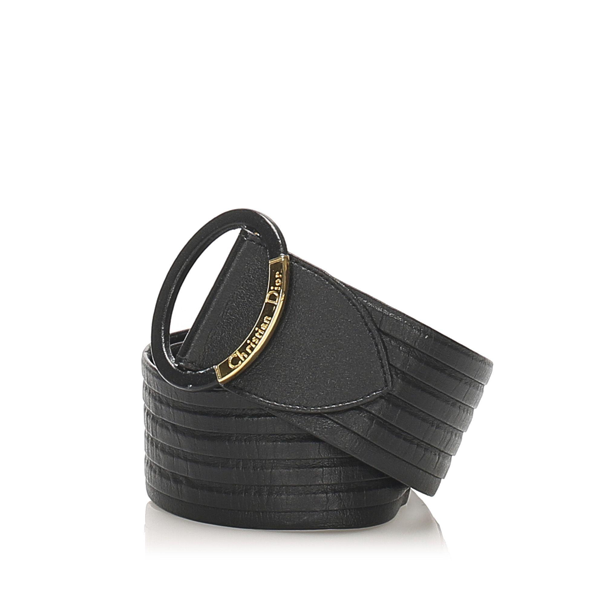 Vintage Dior Leather Belt Black
