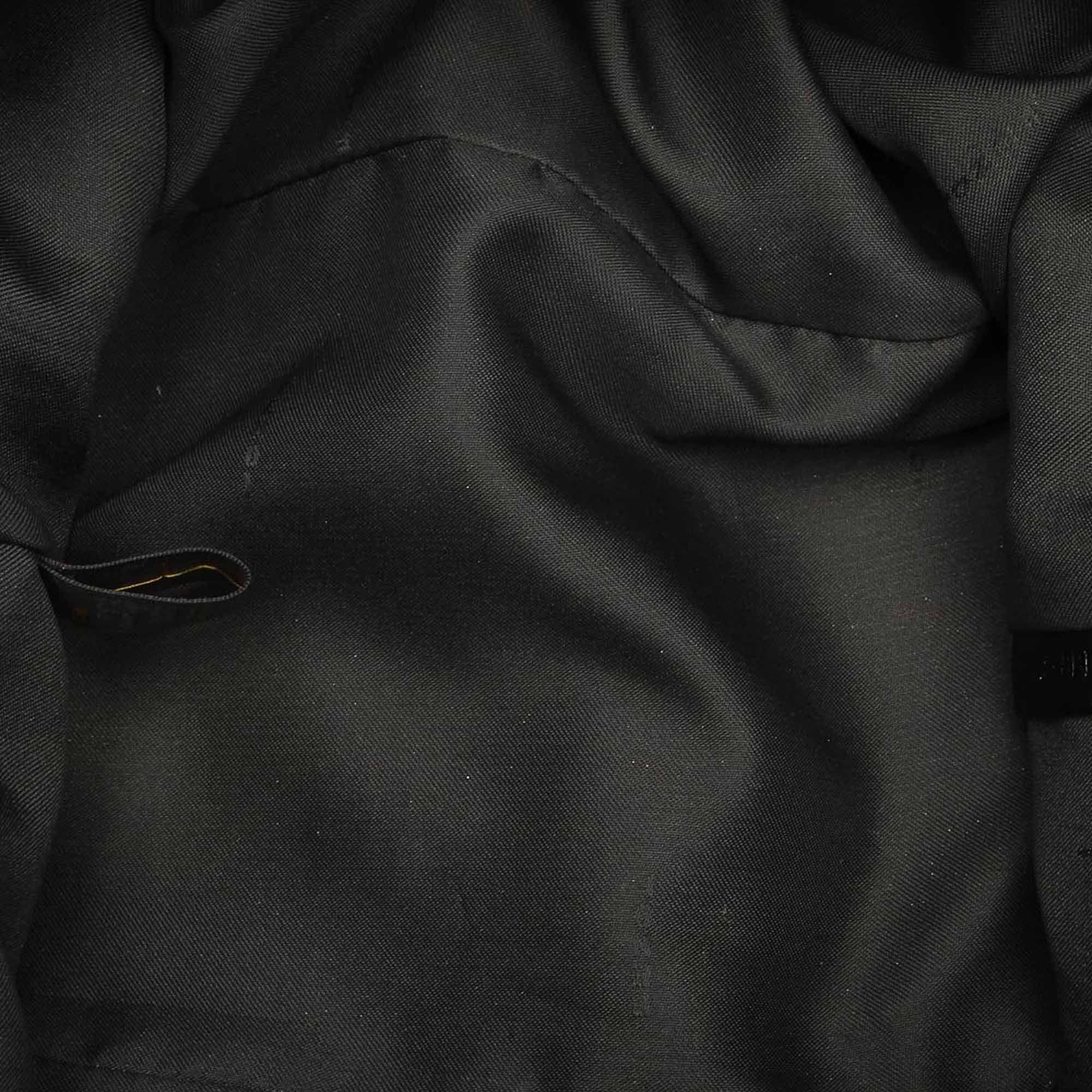 Vintage Fendi Tiger Print Canvas Tote Bag Black