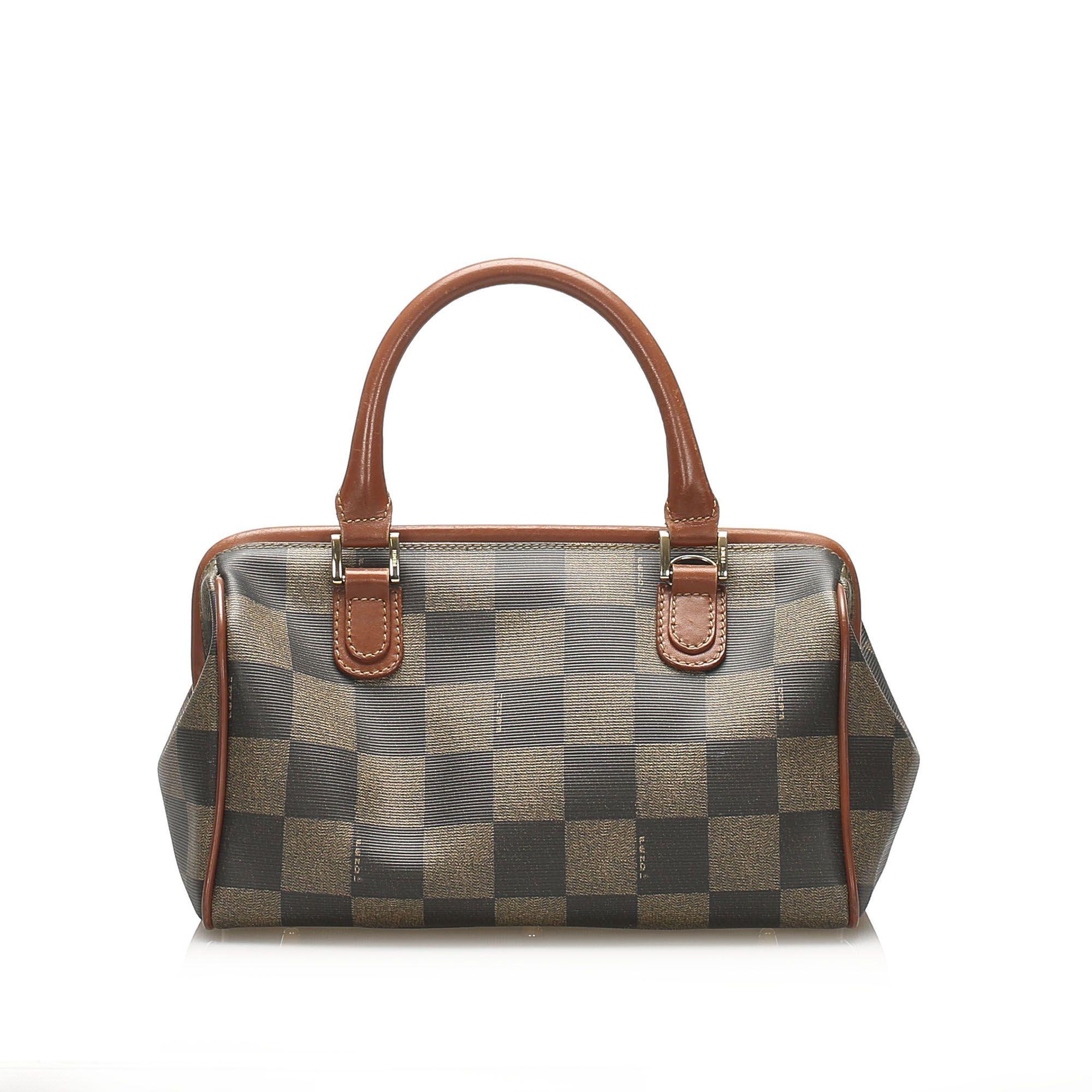 Vintage Fendi Pequin Boston Bag Brown