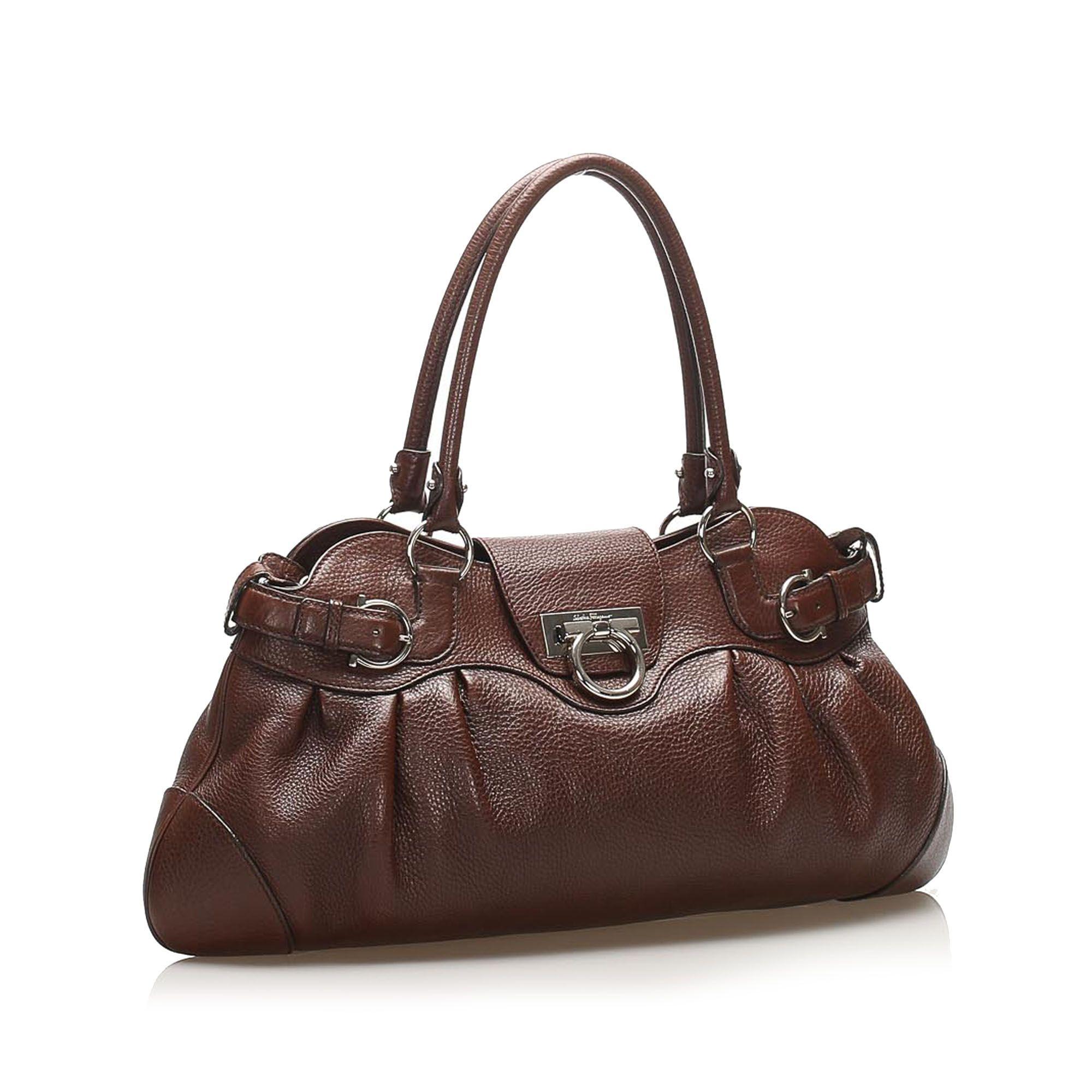 Vintage Ferragamo Gancini Marisa Leather Handbag Brown