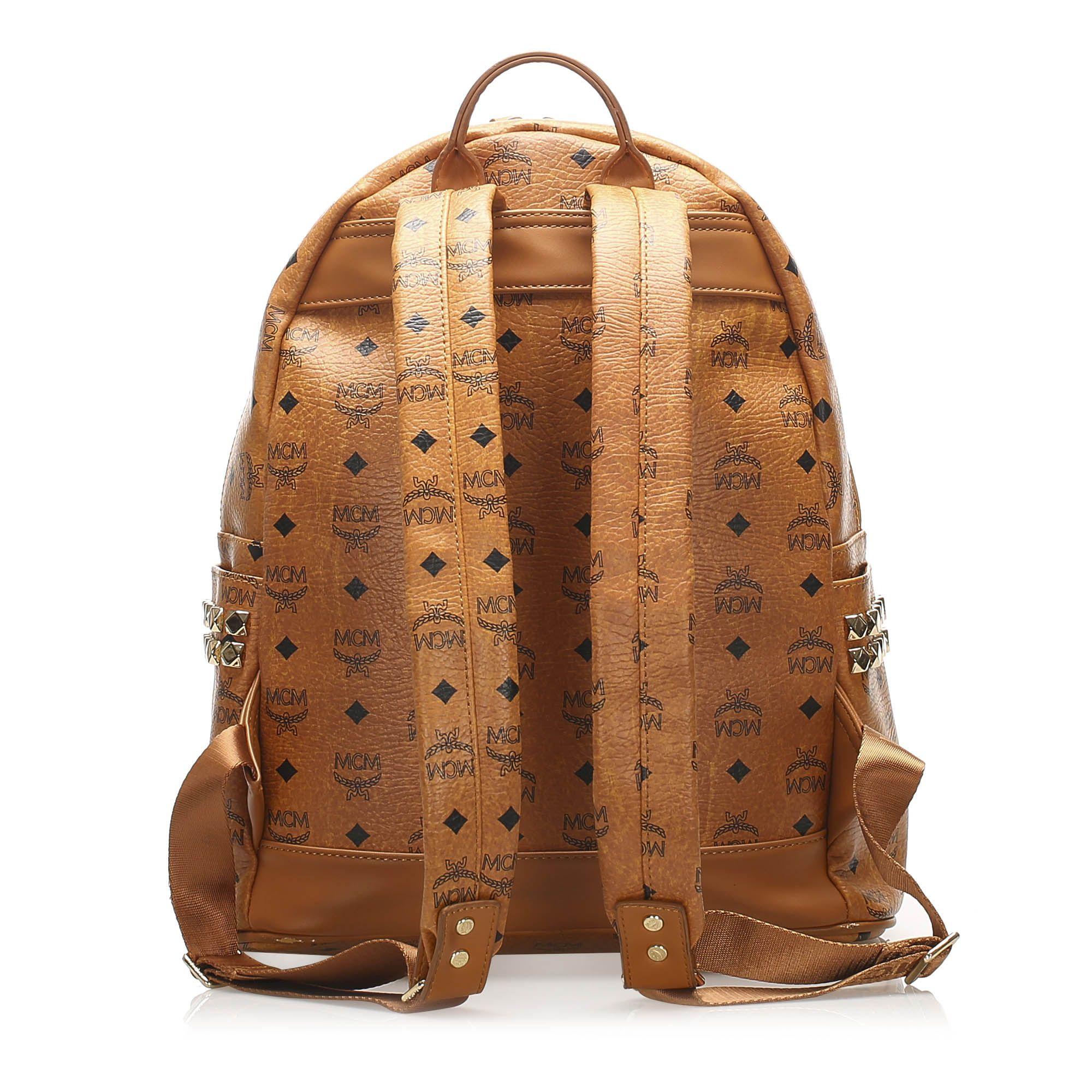 Vintage MCM Visetos Stark Leather Backpack Brown