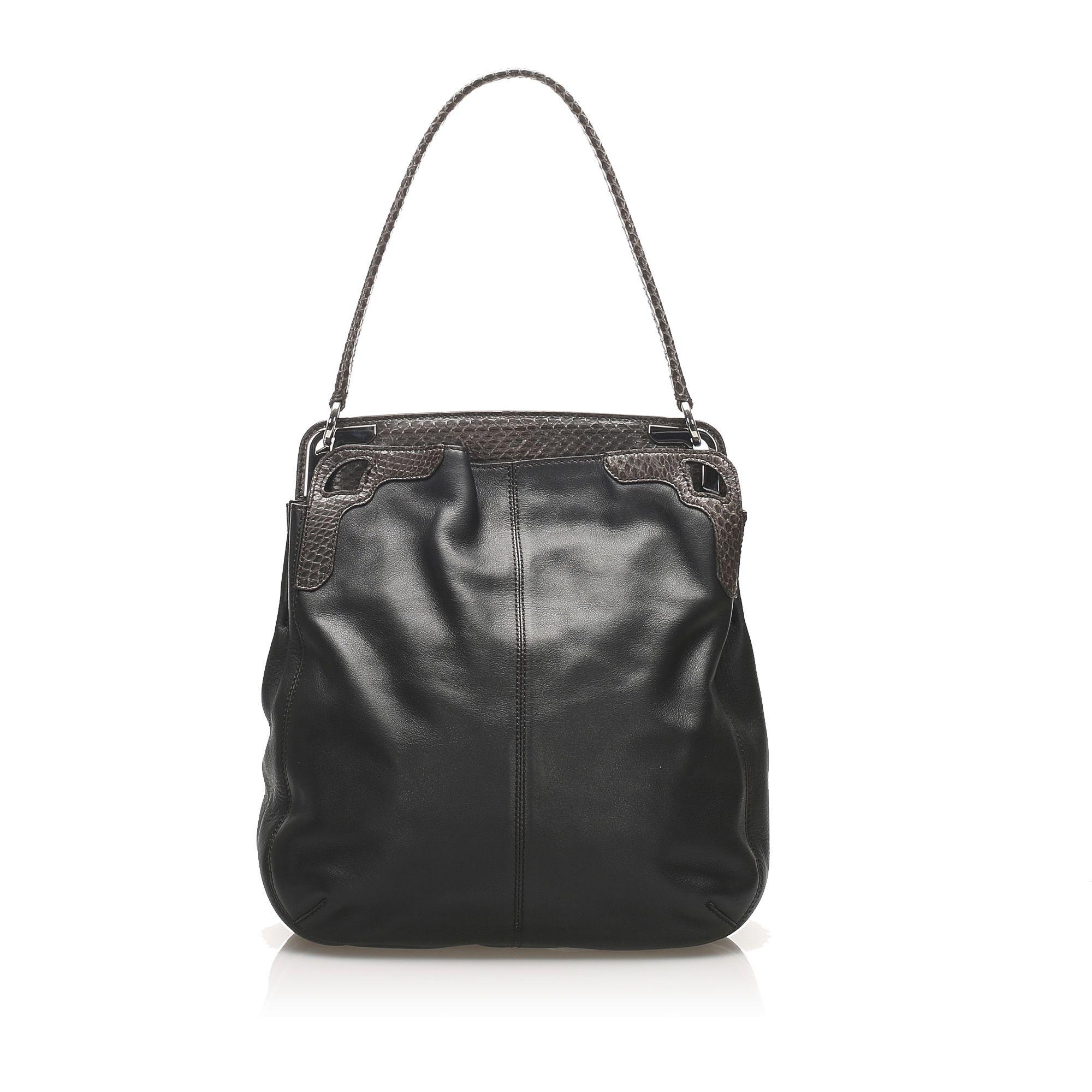 Vintage Cartier Python Leather Shoulder Bag Black