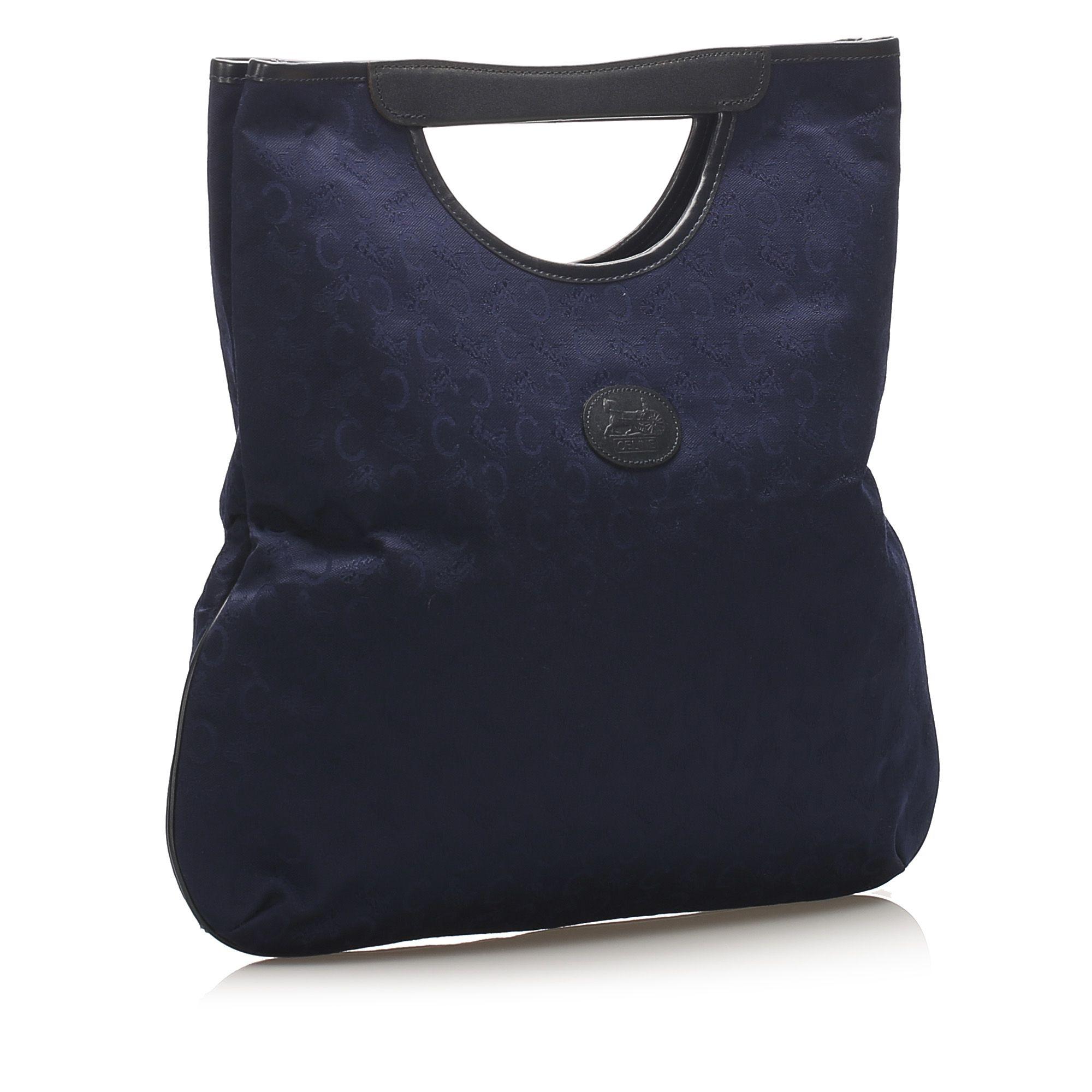 Vintage Celine C Macadam Canvas Tote Bag Blue