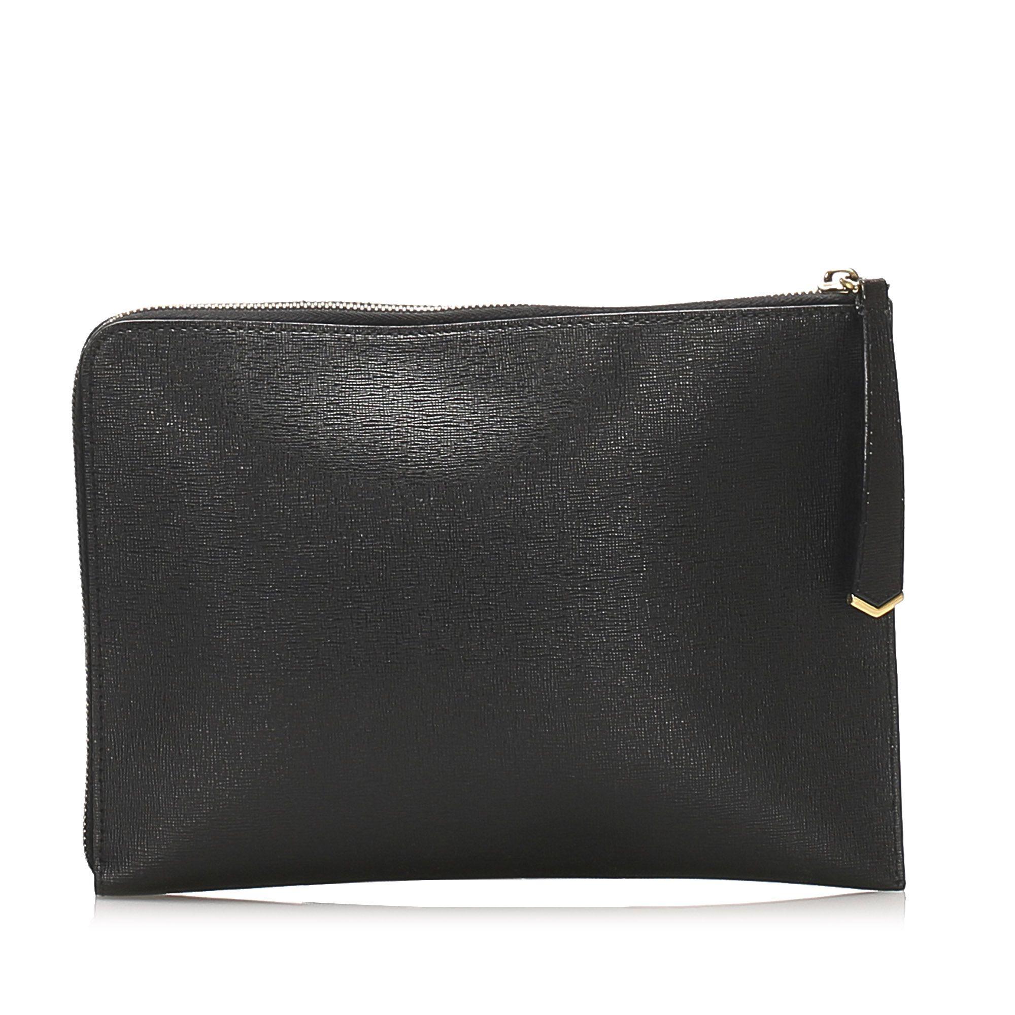 Vintage Fendi Monster Leather Clutch Bag Black