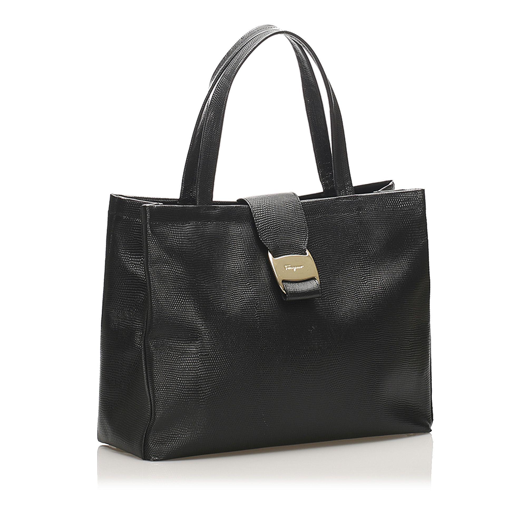 Vintage Ferragamo Vara Leather Handbag Black