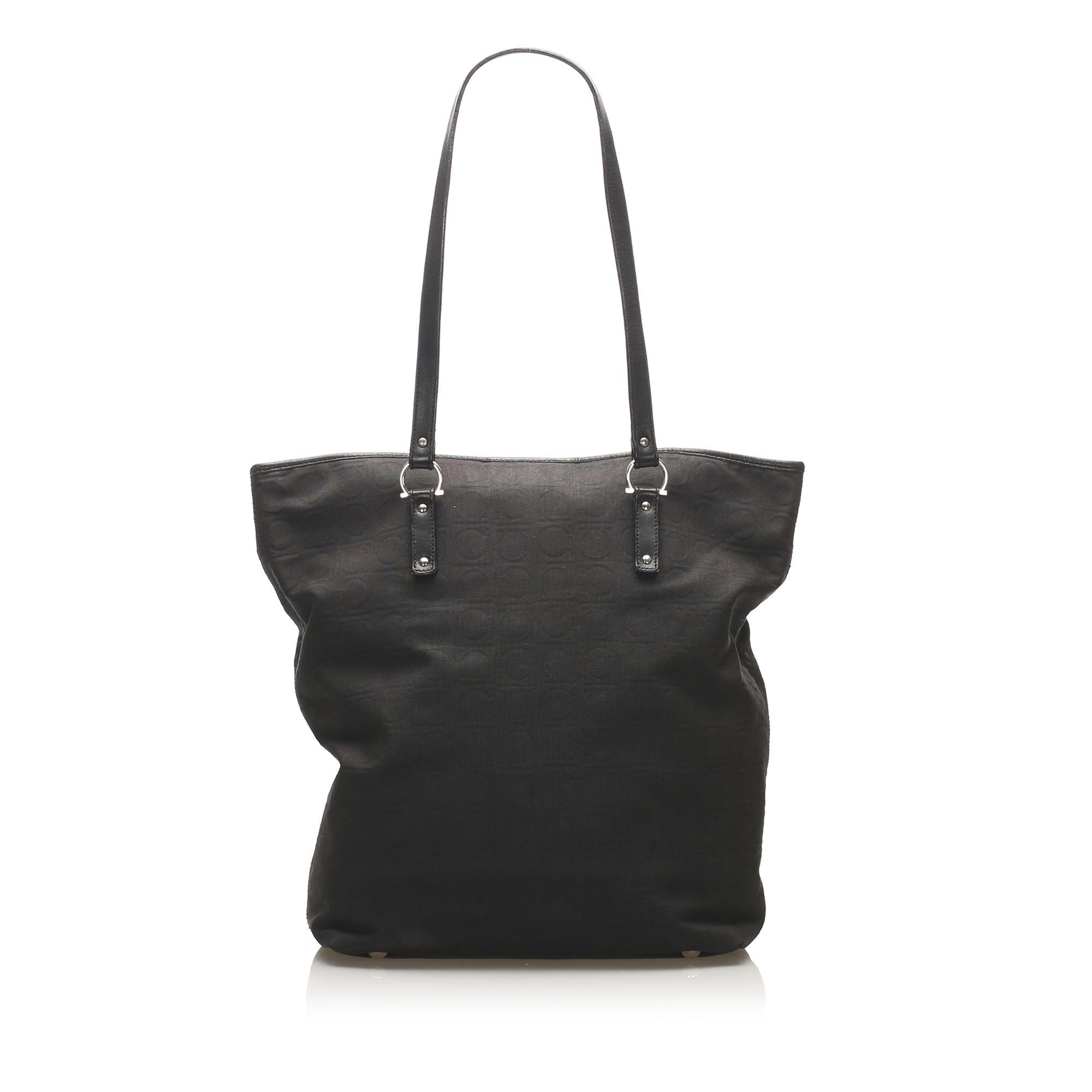 Vintage Ferragamo Gancini Nylon Tote Bag Black