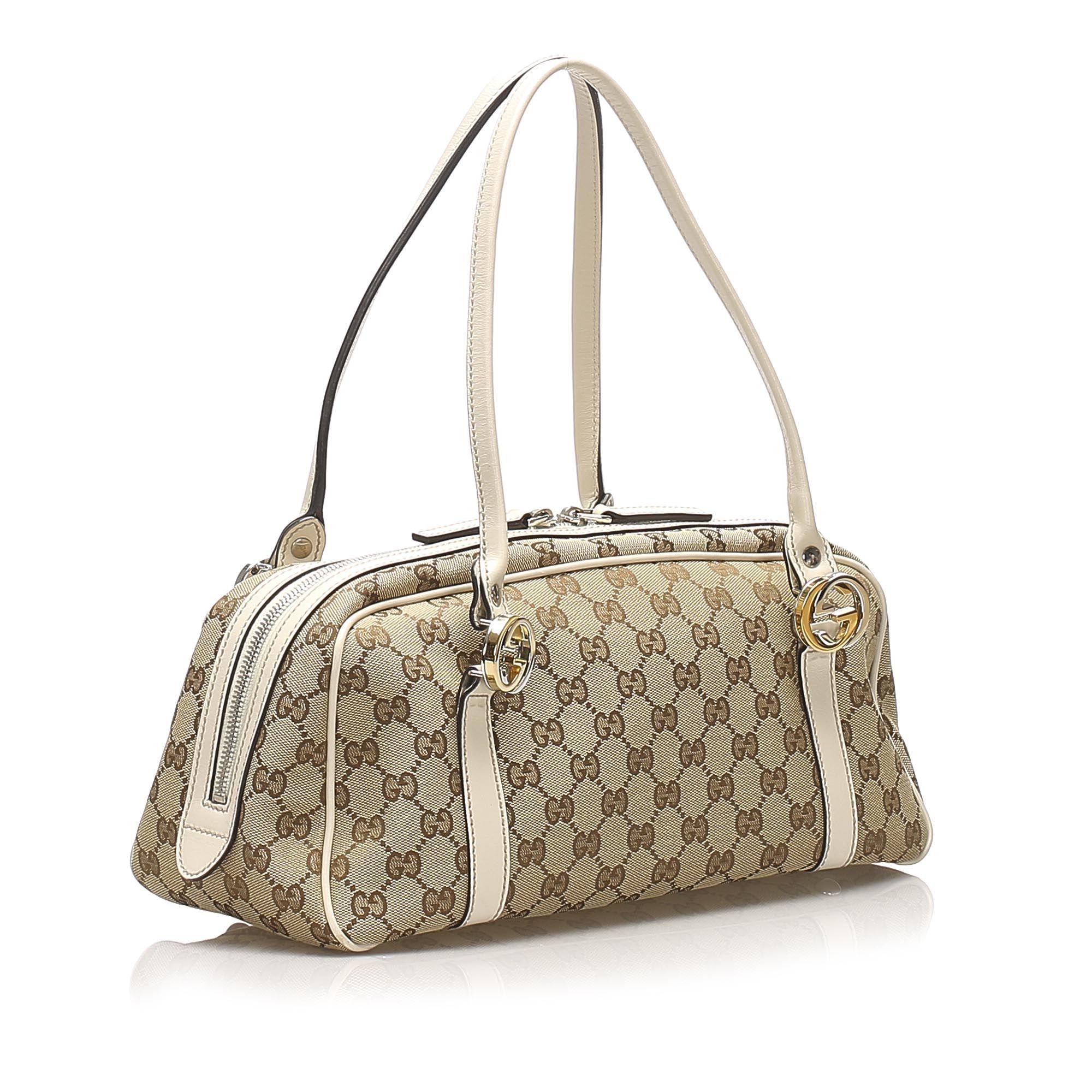 Vintage Gucci GG Canvas Twins Shoulder Bag Brown