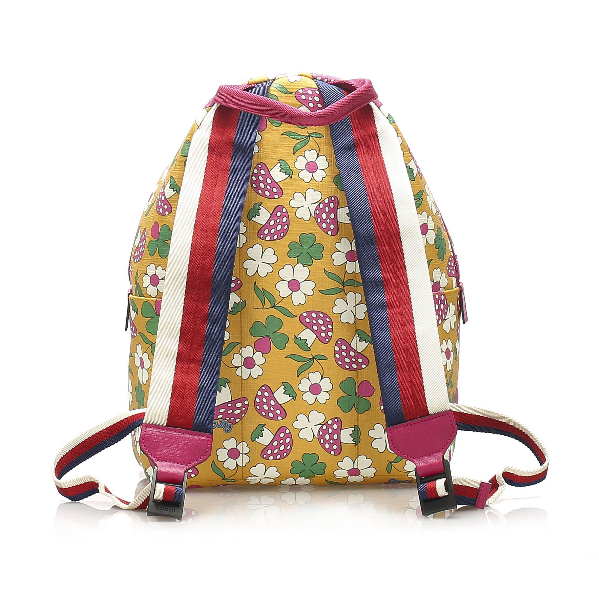 Vintage Gucci Childrens Mushroom Print Coated Canvas Backpack Yellow