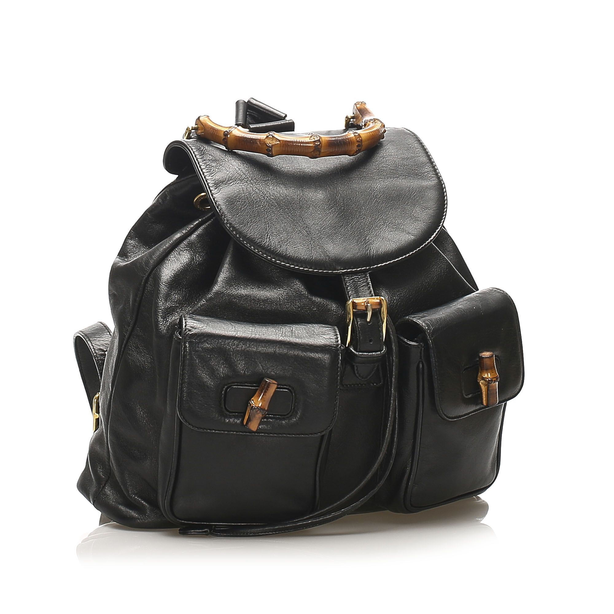 Vintage Gucci Bamboo Drawstring Leather Backpack Black
