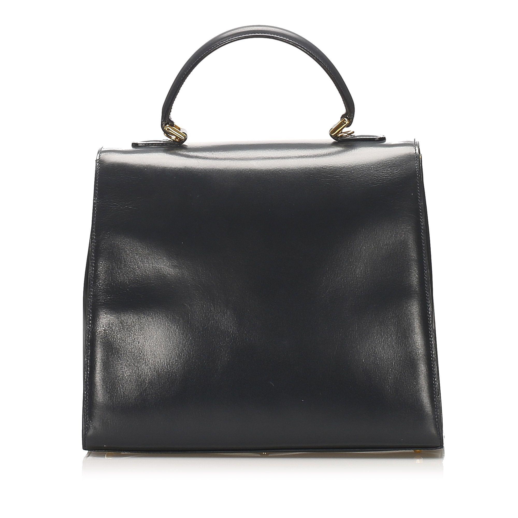 Vintage Gucci Lady Lock Leather Handbag Black