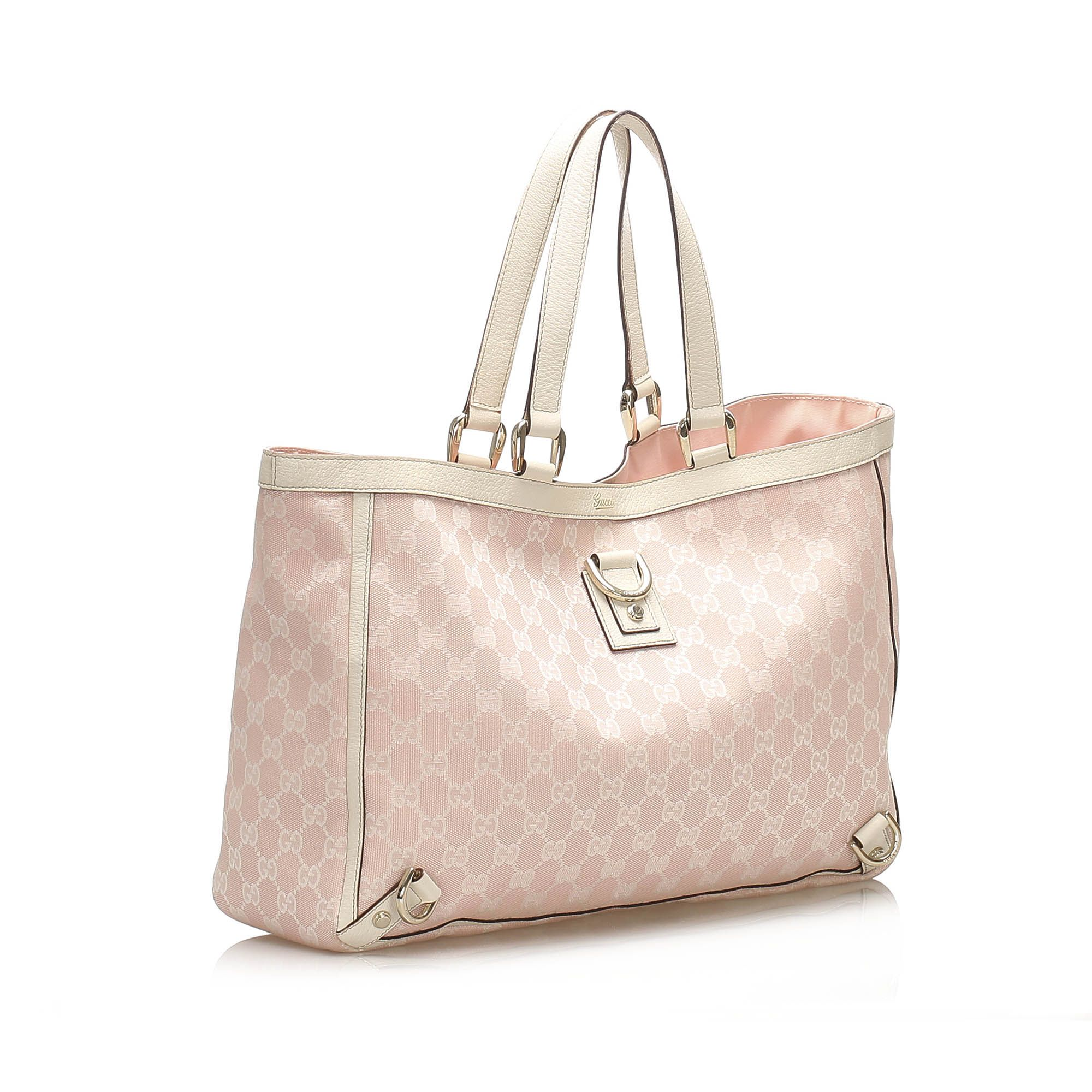 Vintage Gucci GG Canvas Abbey D- Ring Tote Bag Pink