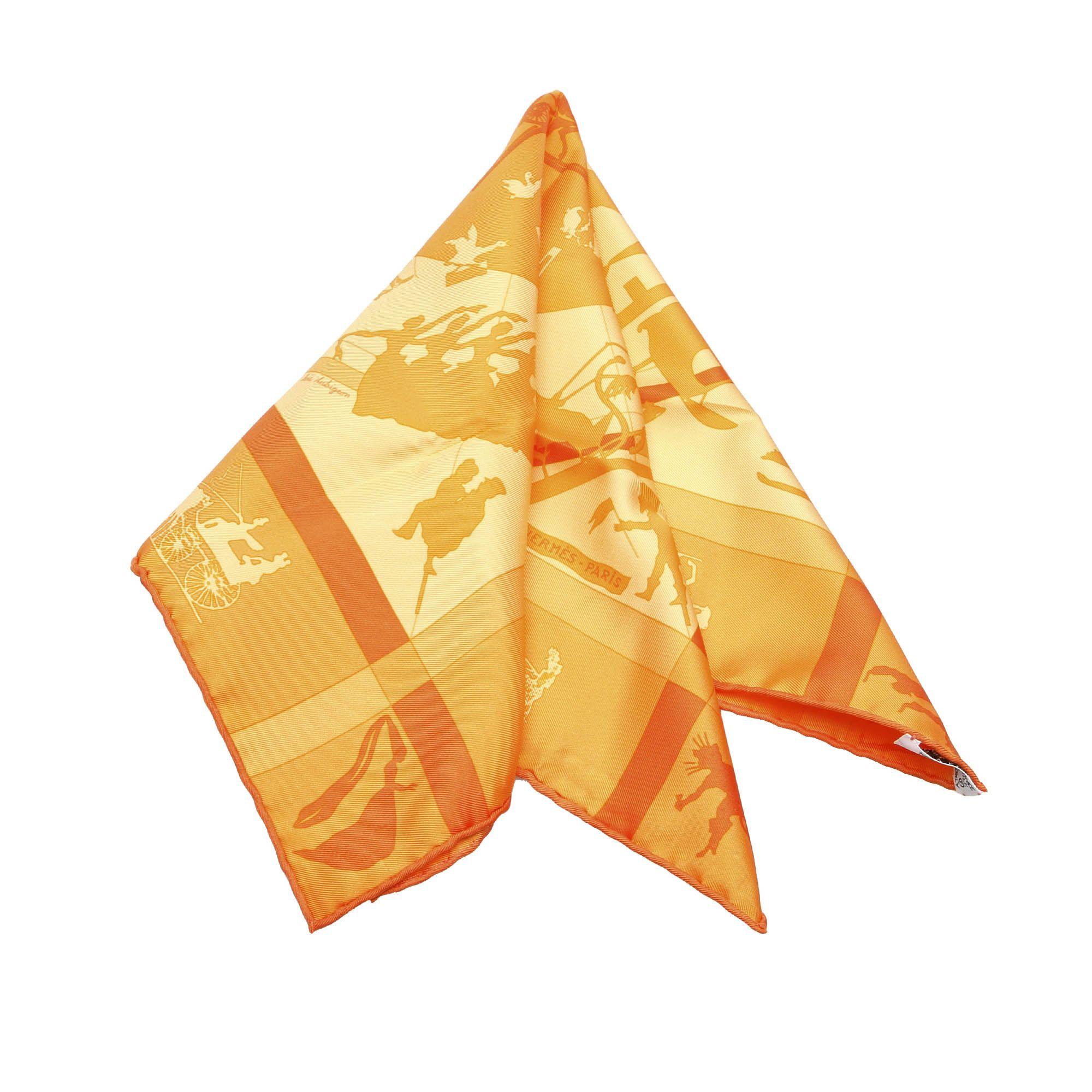 Vintage Hermes Jeux d Ombres Silk Scarf Orange