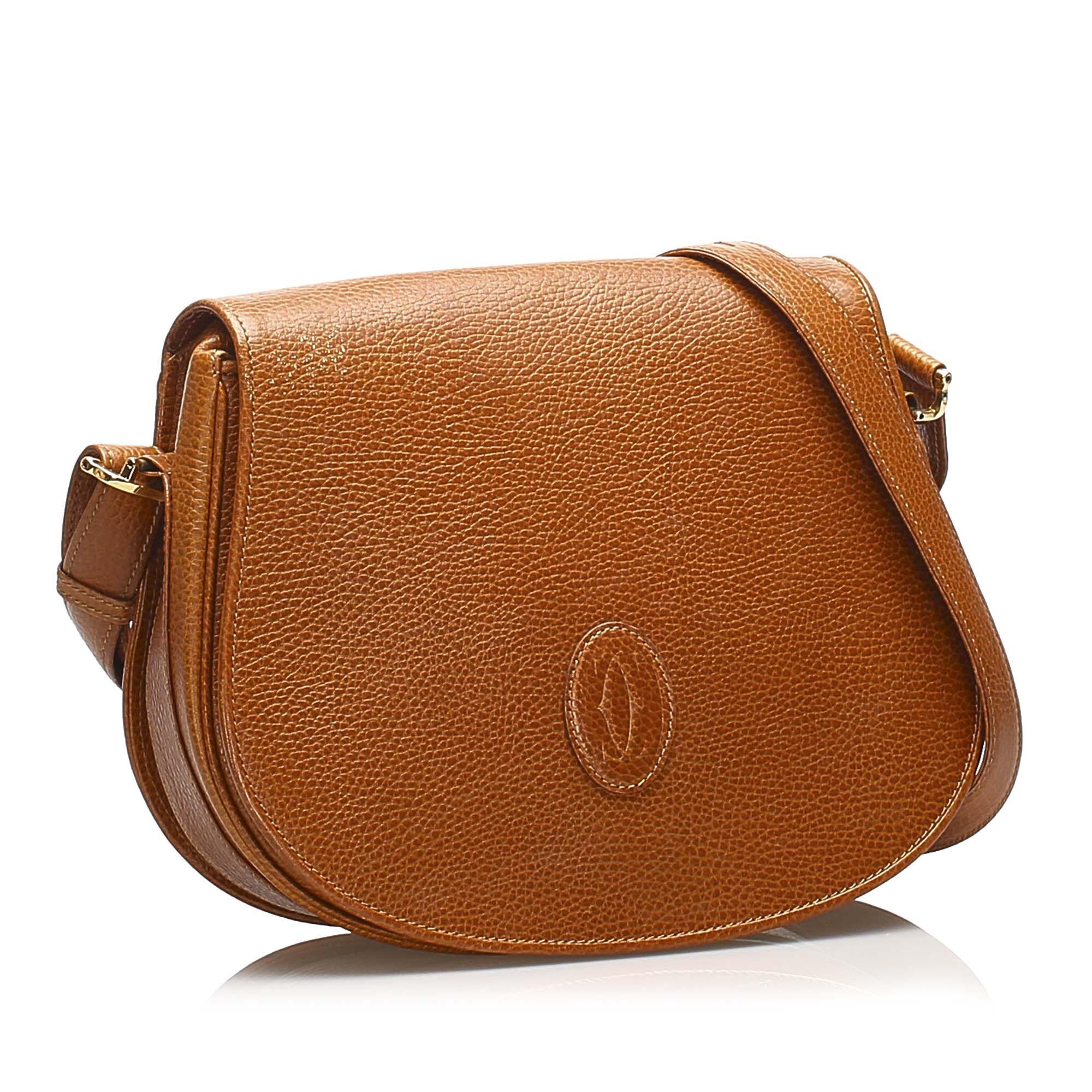 Vintage Cartier Must de Cartier Leather Shoulder Bag Brown
