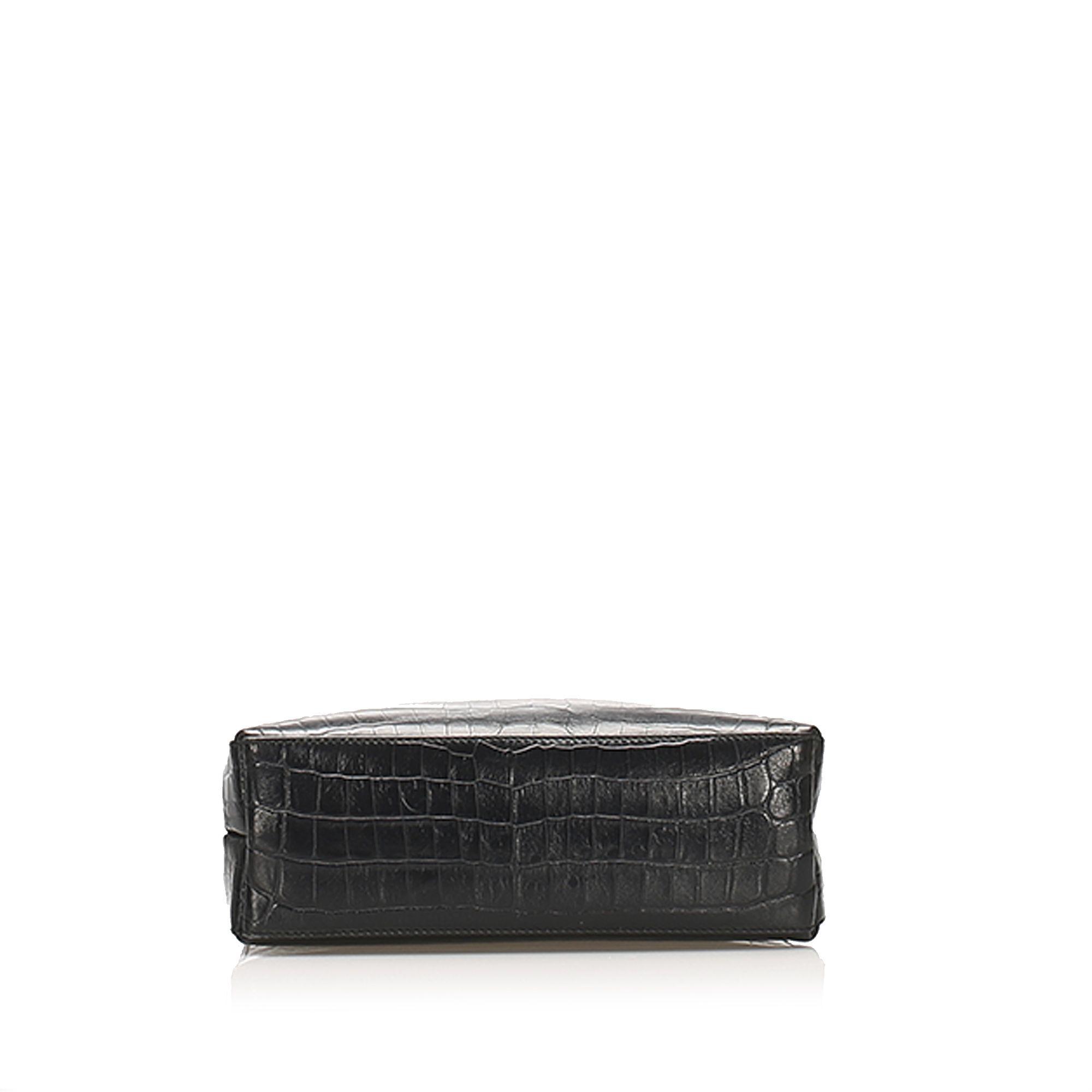 Vintage Ferragamo Vara Croc Embossed Leather Satchel Black