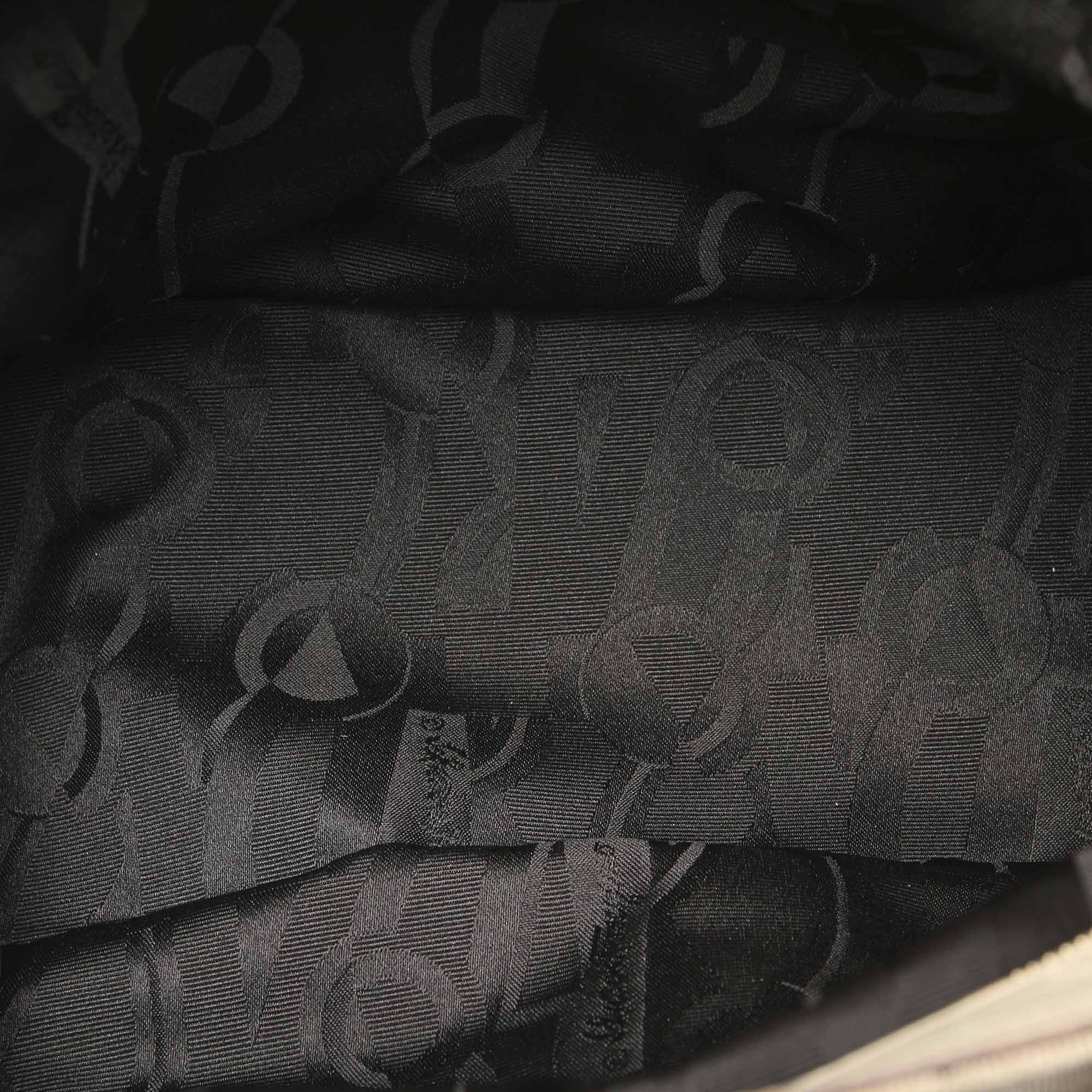 Vintage Ferragamo Tiered Grosgrain Chain Tote Bag Gray