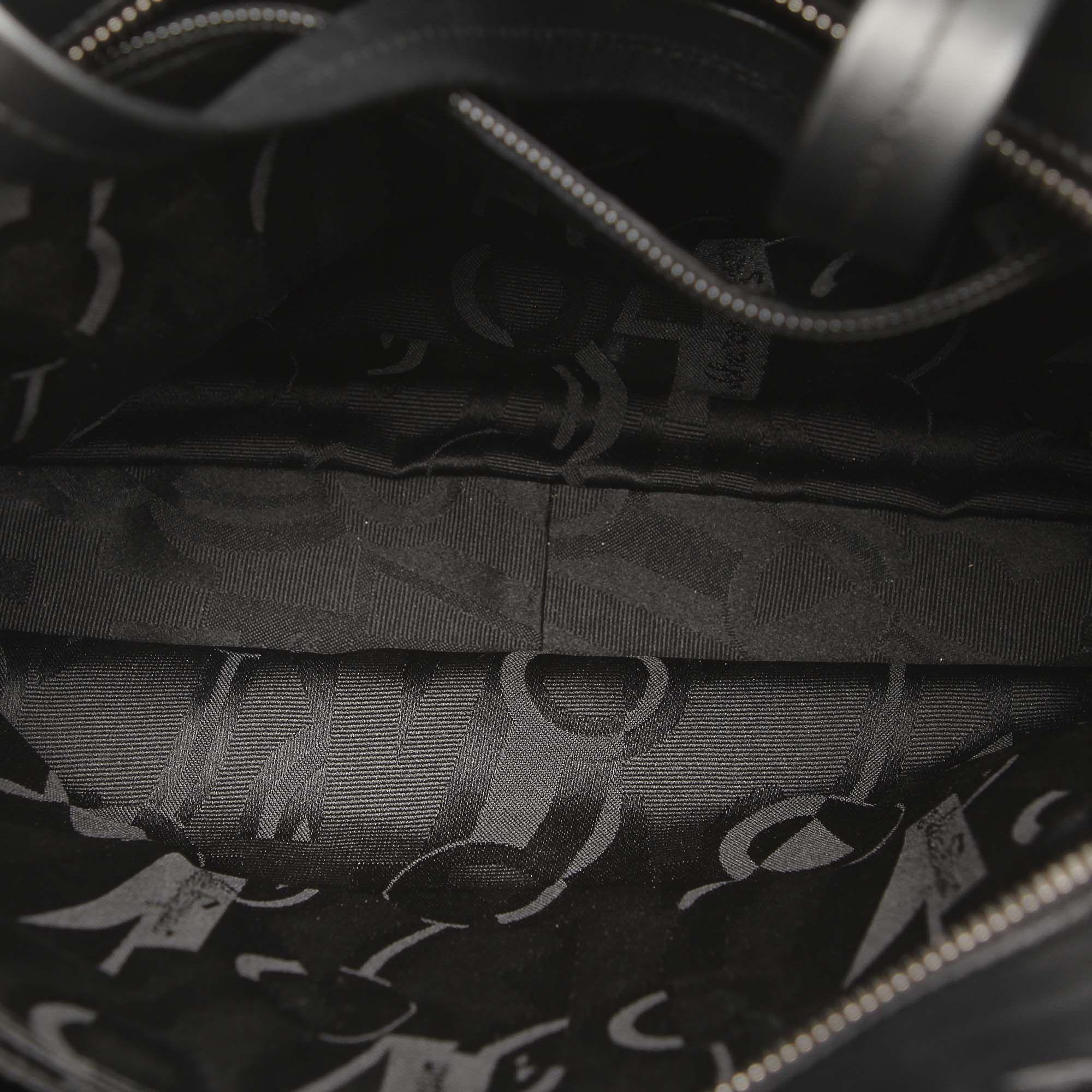 Vintage Ferragamo Gancini Leather Tote Bag Black