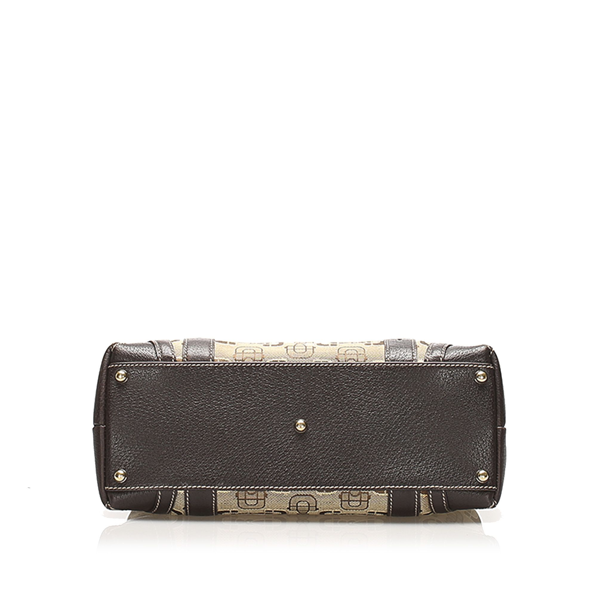 Vintage Gucci Horsebit Canvas Tote Bag Brown