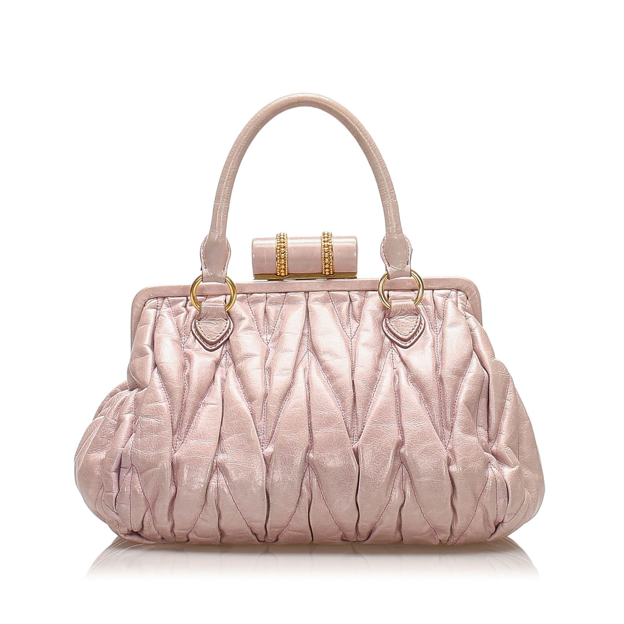 Vintage Miu Miu Coffer Leather Handbag Pink