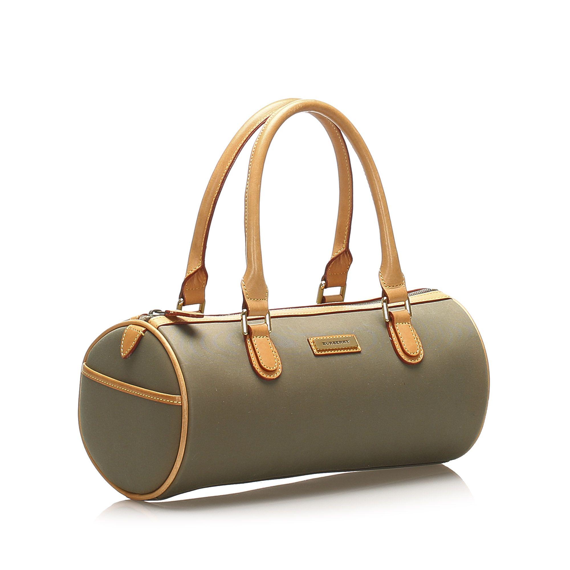 Vintage Burberry Leather Handbag Green