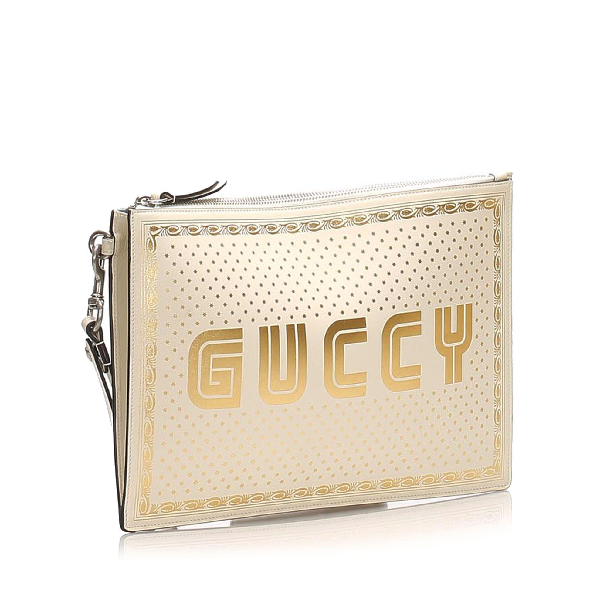 Vintage Gucci Guccy Sega Leather Clutch Bag White