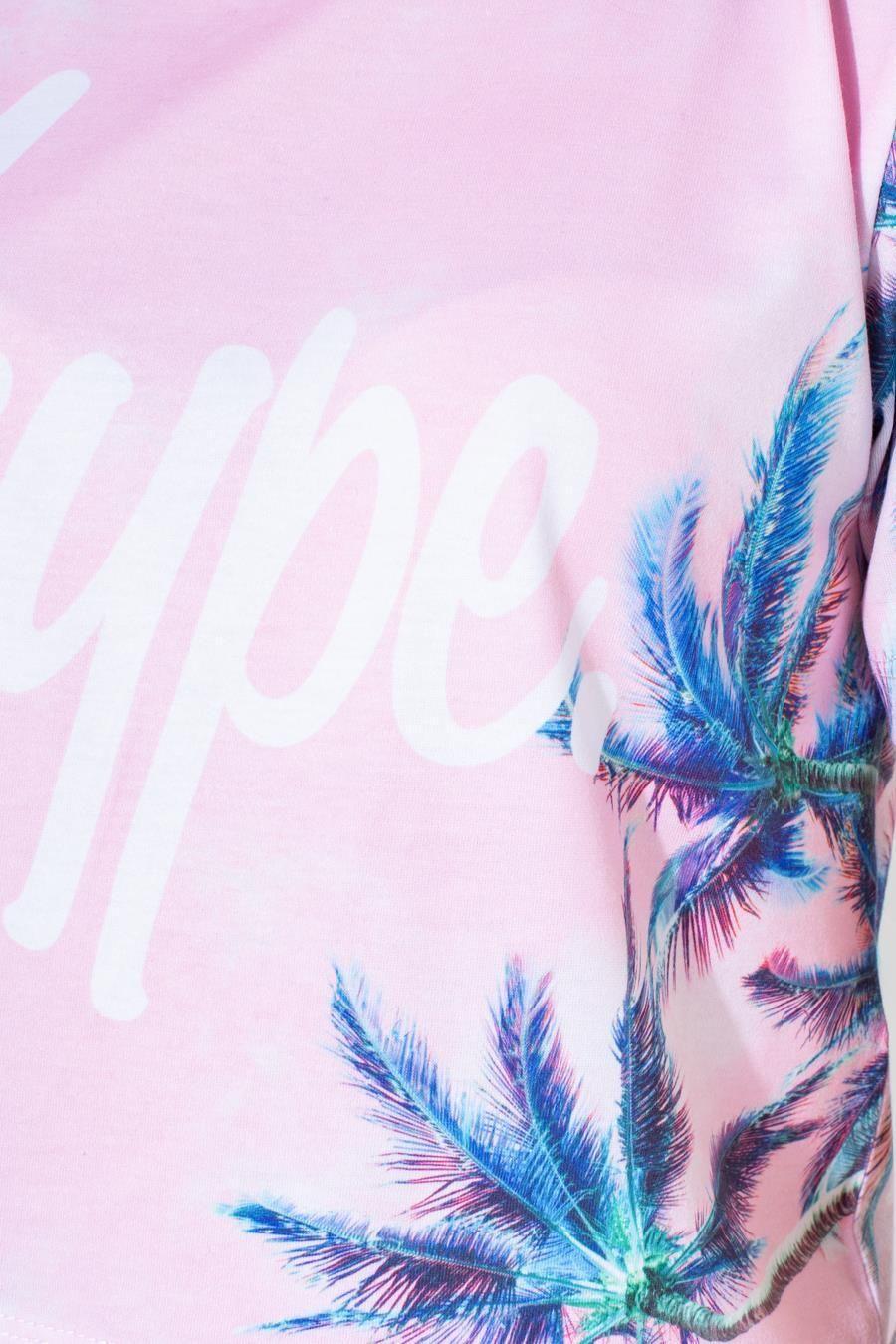 Hype Pink Palm Kids Crop T-Shirt