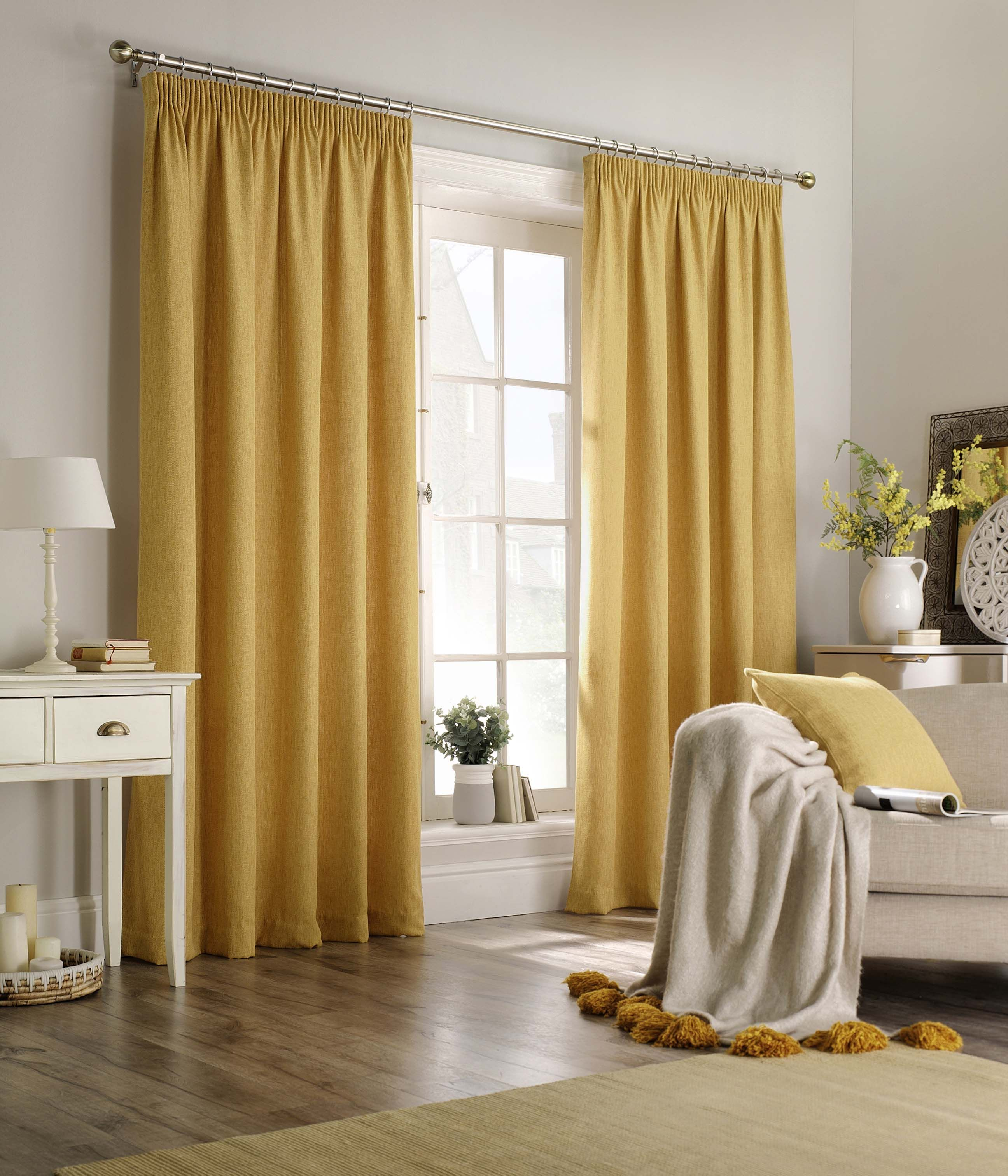 Harrison Herringbone Pencil Pleat Curtains in Ochre