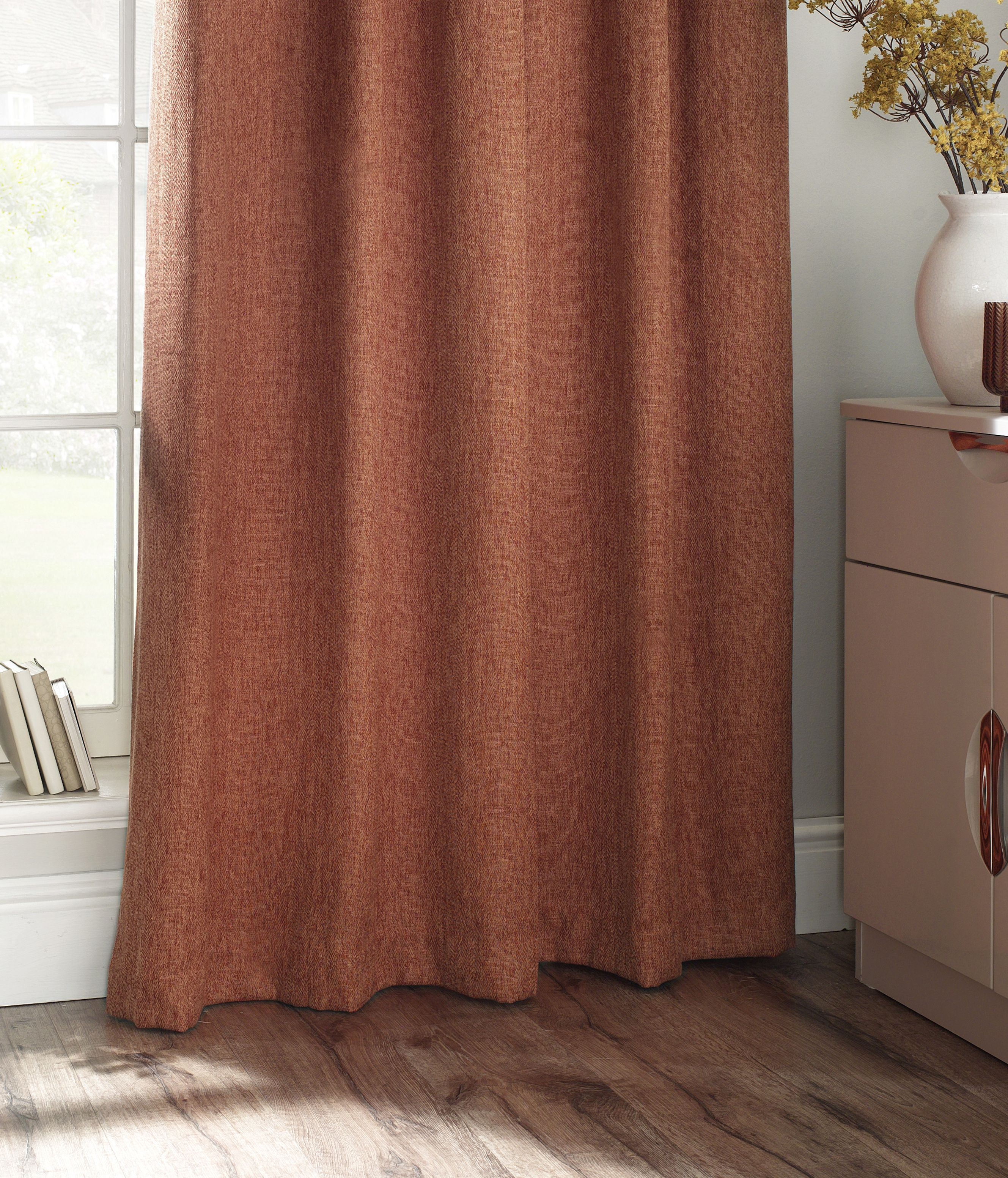 Harrison Herringbone Pencil Pleat Curtains in Burnt Orange