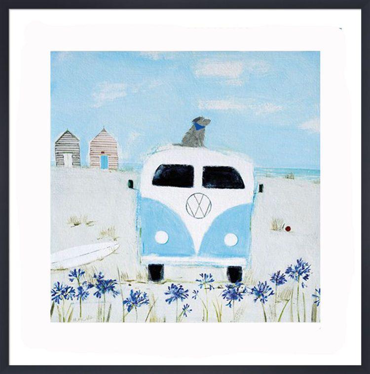 Blue Camper Art Print by Hannah Cole