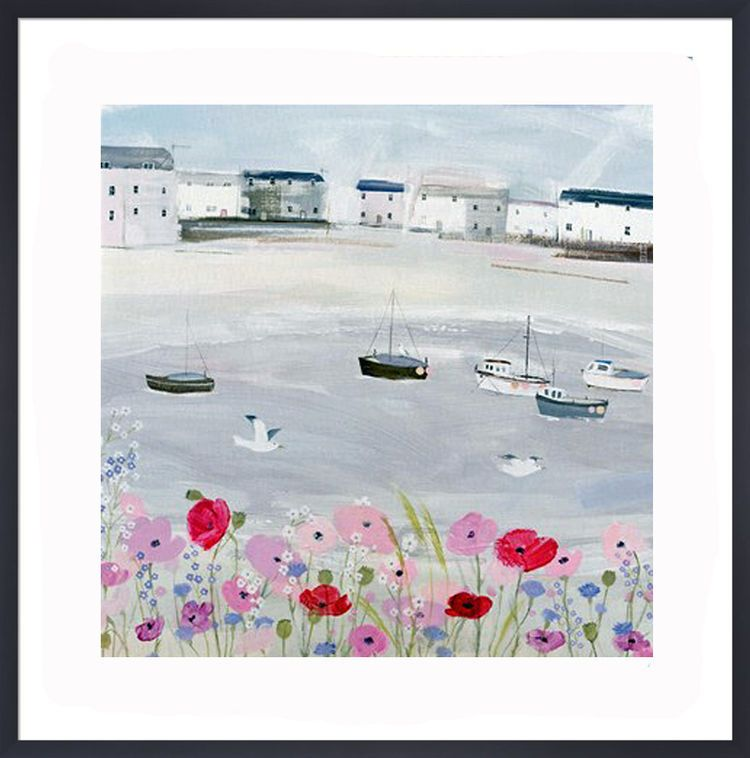Sea Mist and Poppies Art Print by Hannah Cole
