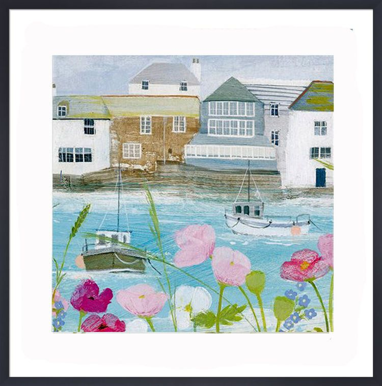 Boats in the Harbour Art Print by Hannah Cole