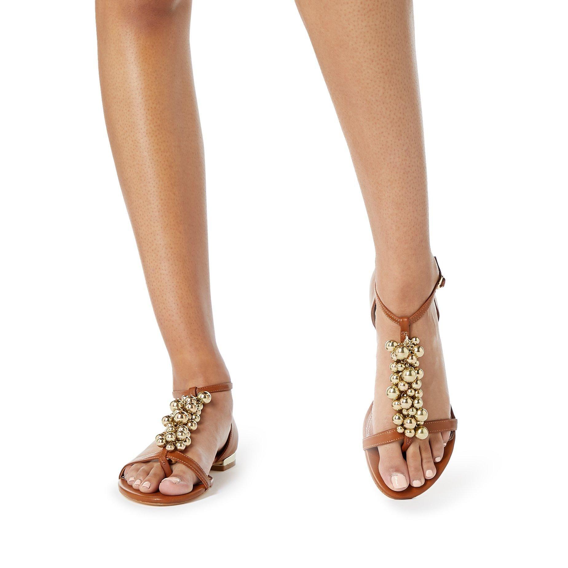 Dune Ladies HOBART 2 Embellished T-Bar Flat Sandals