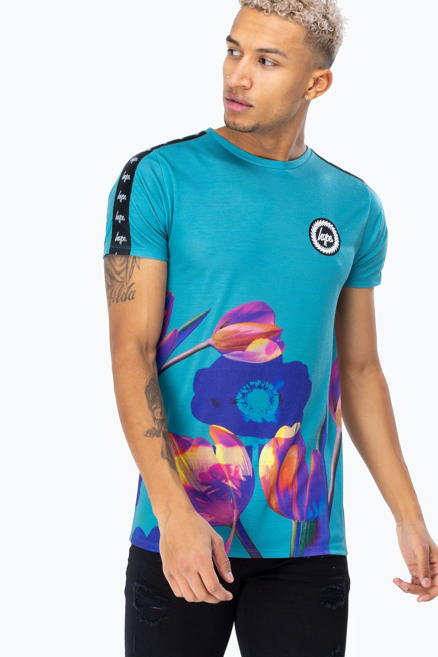 Hype Blue Earth Flower Tape Mens T-Shirt