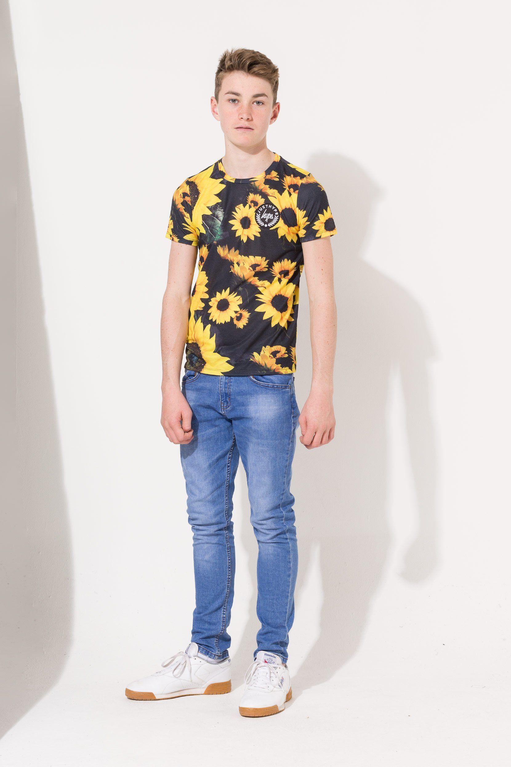 Hype Black Sunflower Crest Kids T-Shirt 13Y