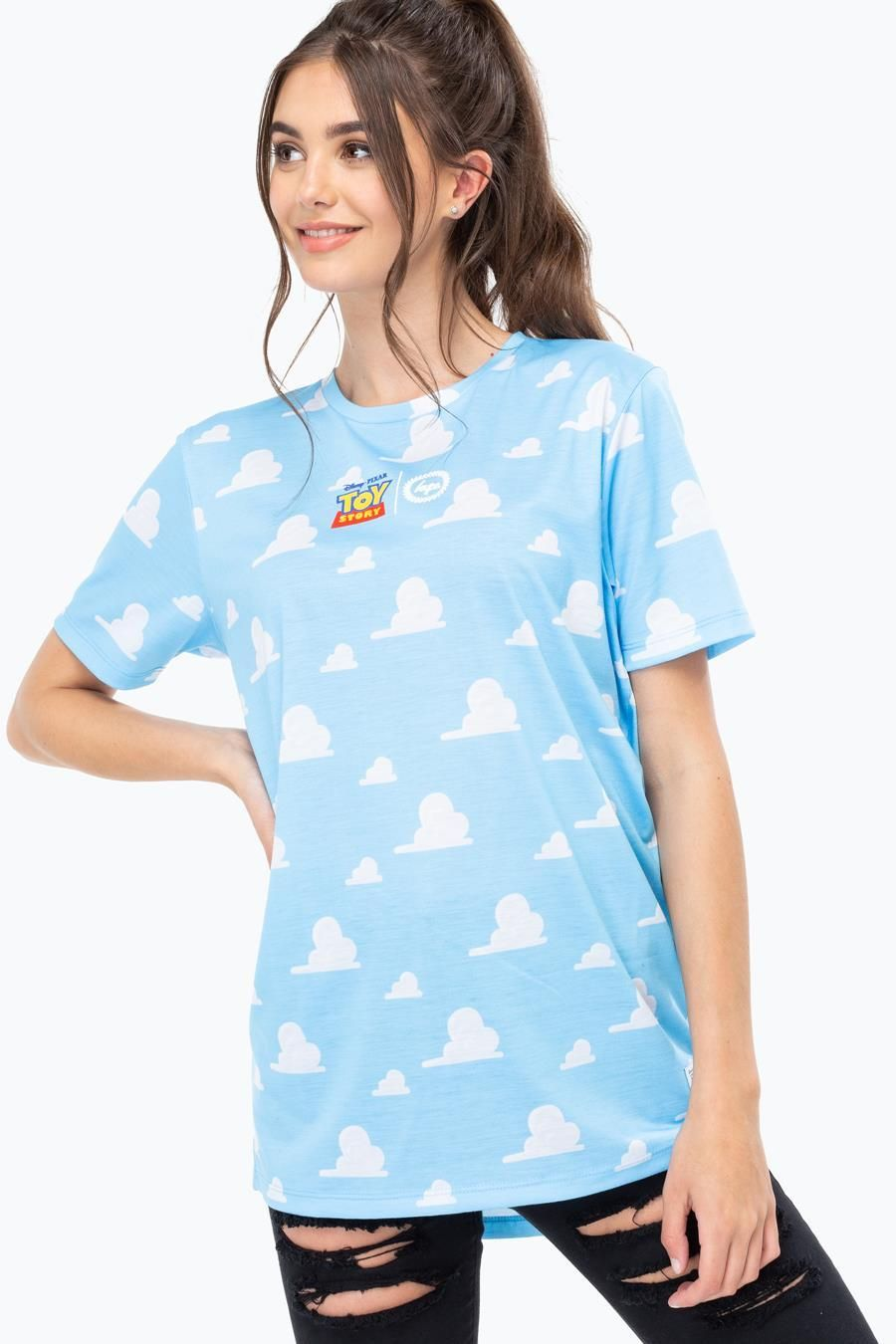Hype Toy Story Blue Clouds Dished Hem Mens T-Shirt