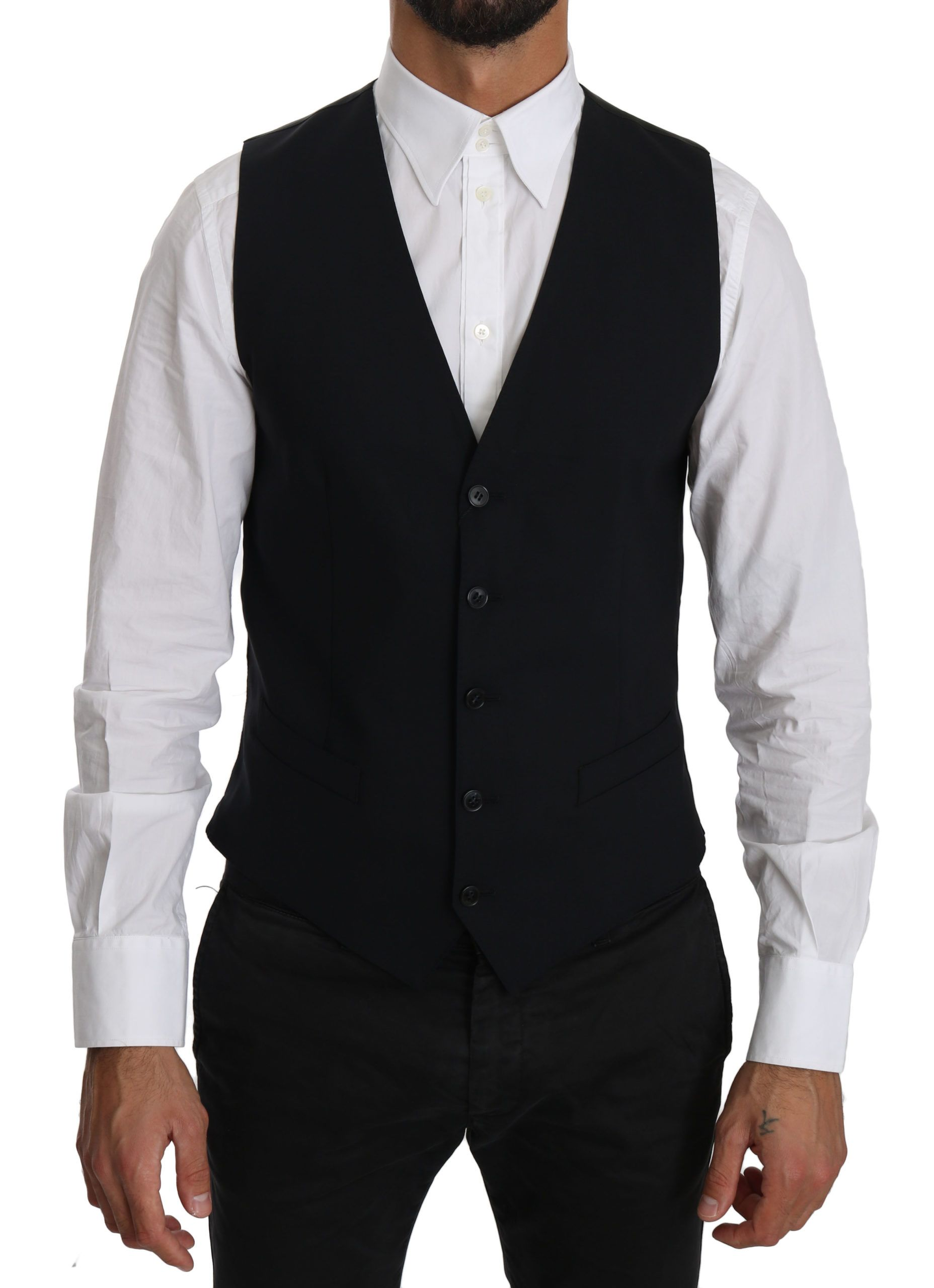 Dolce & Gabbana Blue Wool Waistcoat Formal Gilet Vest
