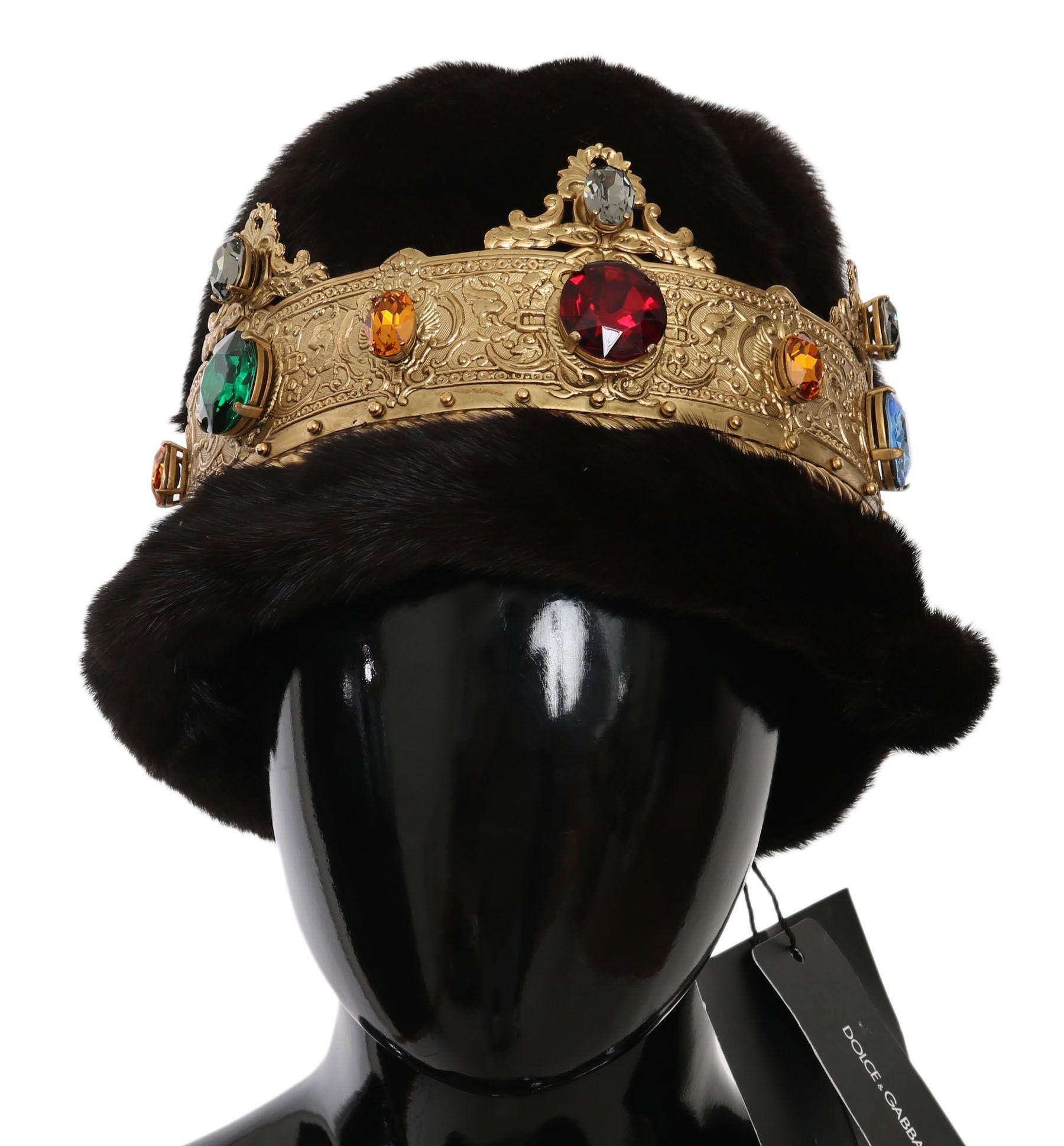 Dolce & Gabbana Brown Mink Fur Women Beanie Crystal Crown