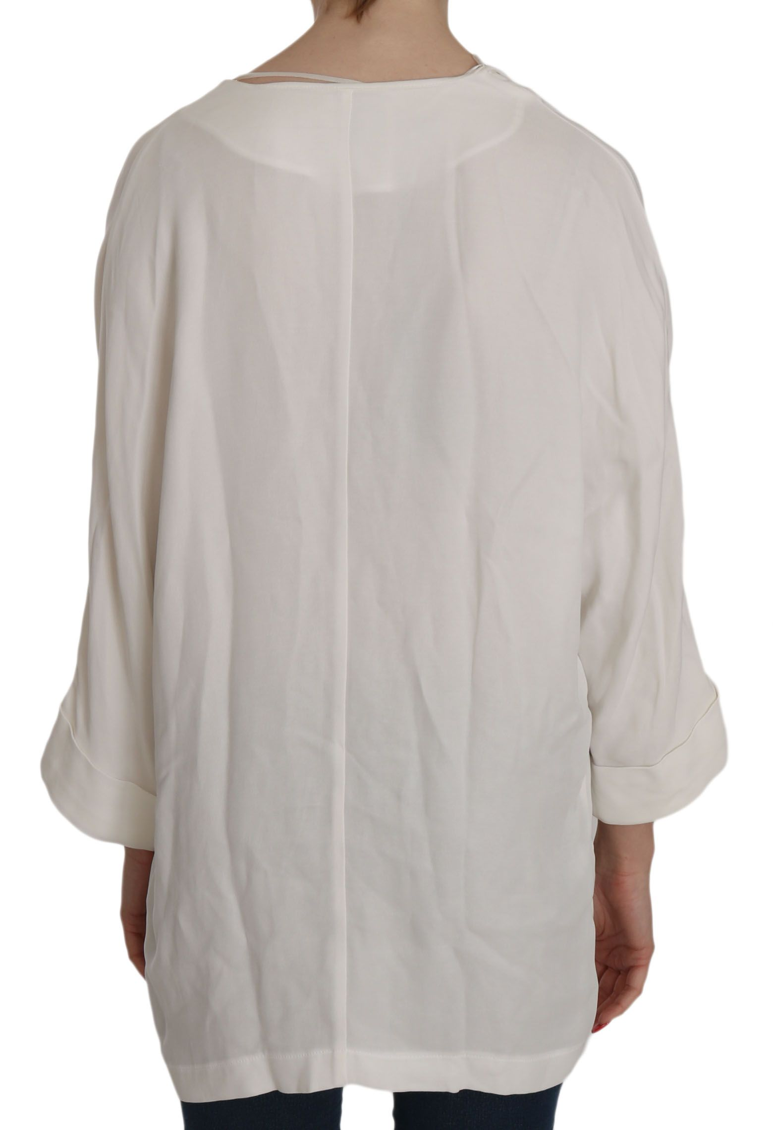 PINKO White Folded Long Sleeve Cardigan Deep Neck Blouse