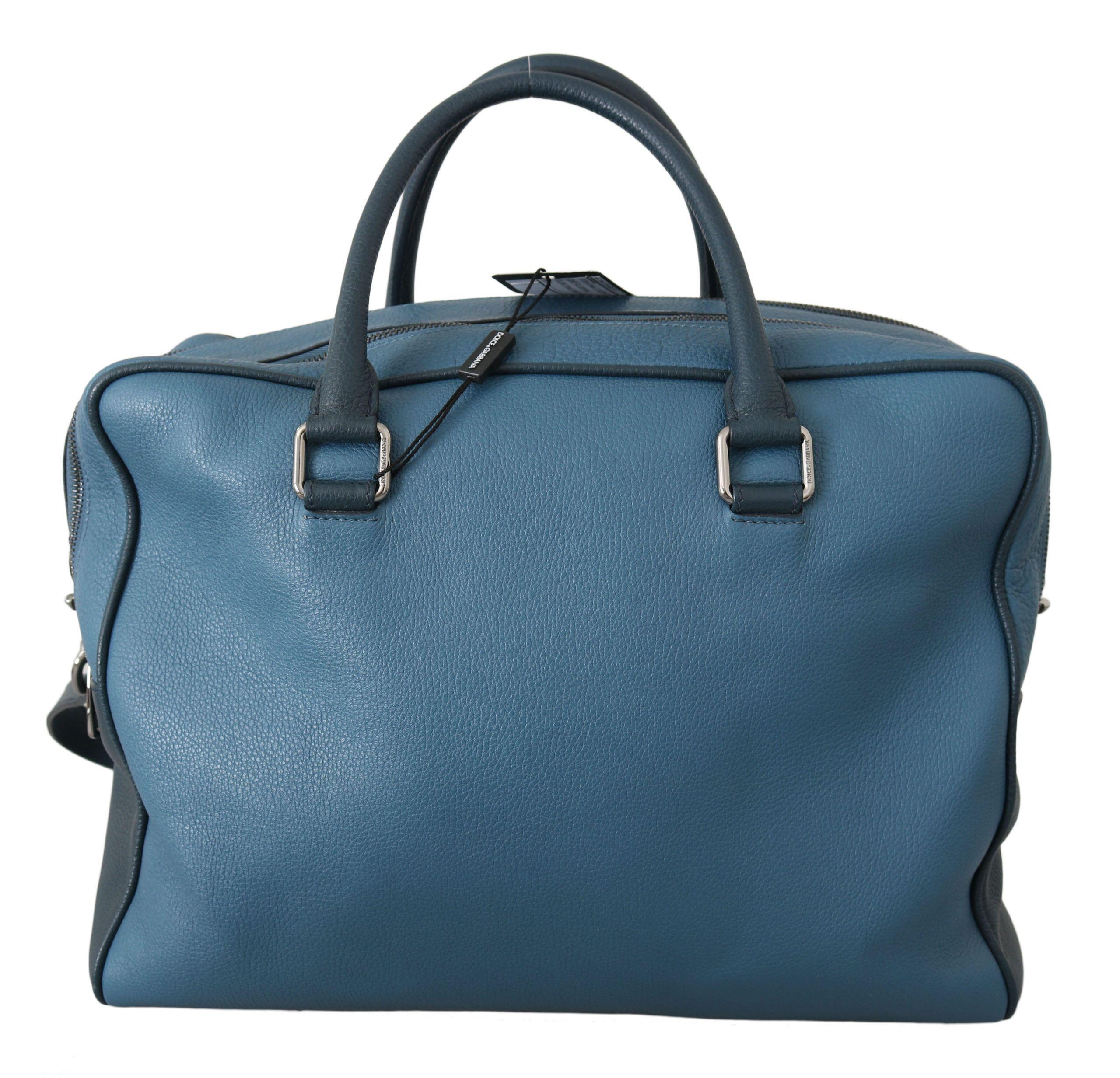 Dolce & Gabbana Blue Men Shoulder Strap Travel Leather Messenger Bag