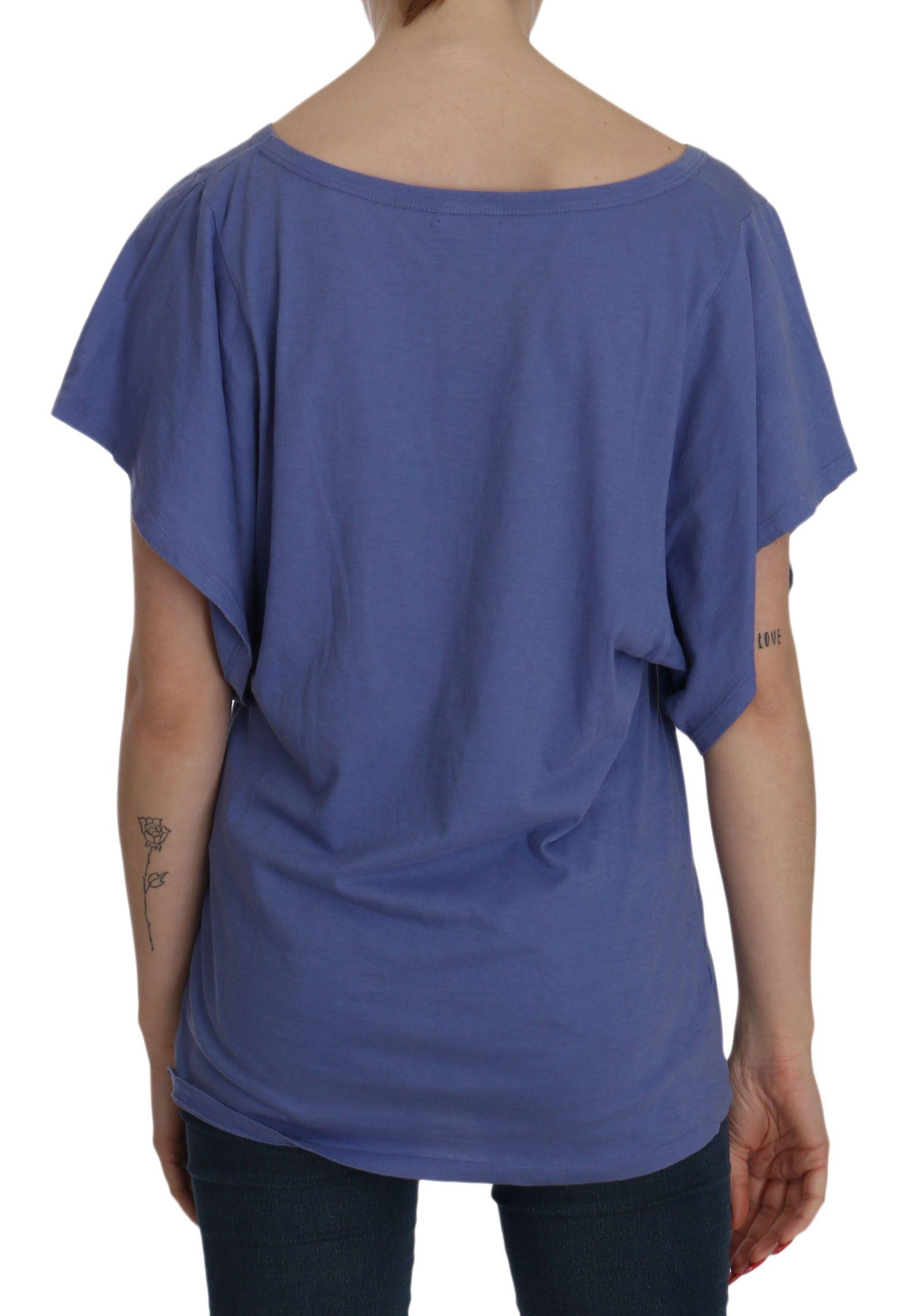 Galliano Blue Short Sleeve Round Neck Shirt Cotton Blouse