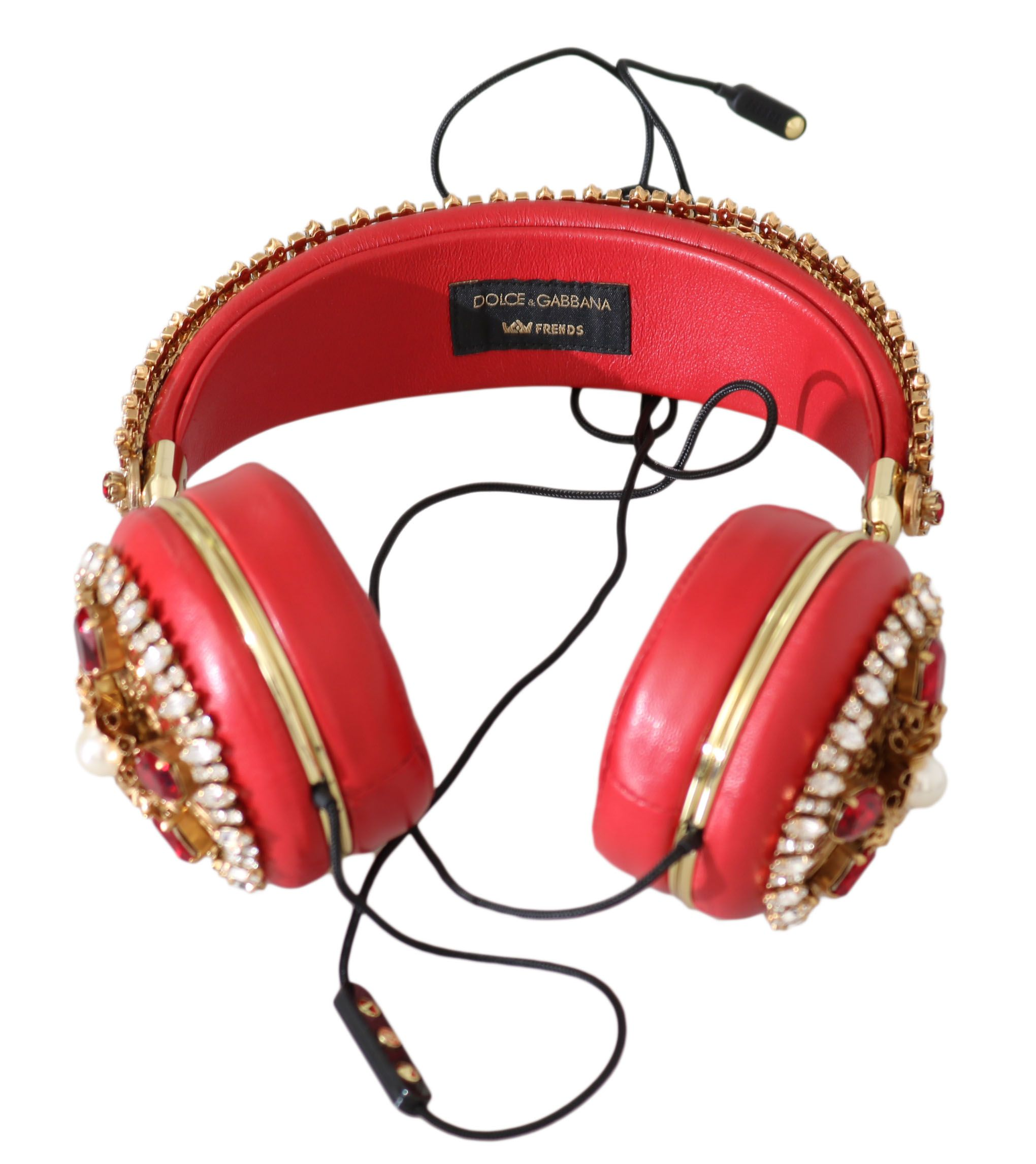Dolce & Gabbana Red Crystal Studs Leather Headset Audio AUX  Headphones