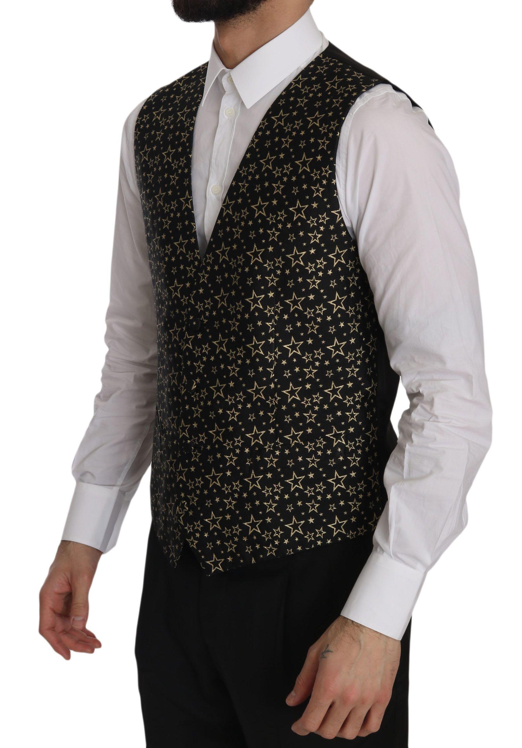 Dolce & Gabbana Black Star Patterned Slim Formal Vest