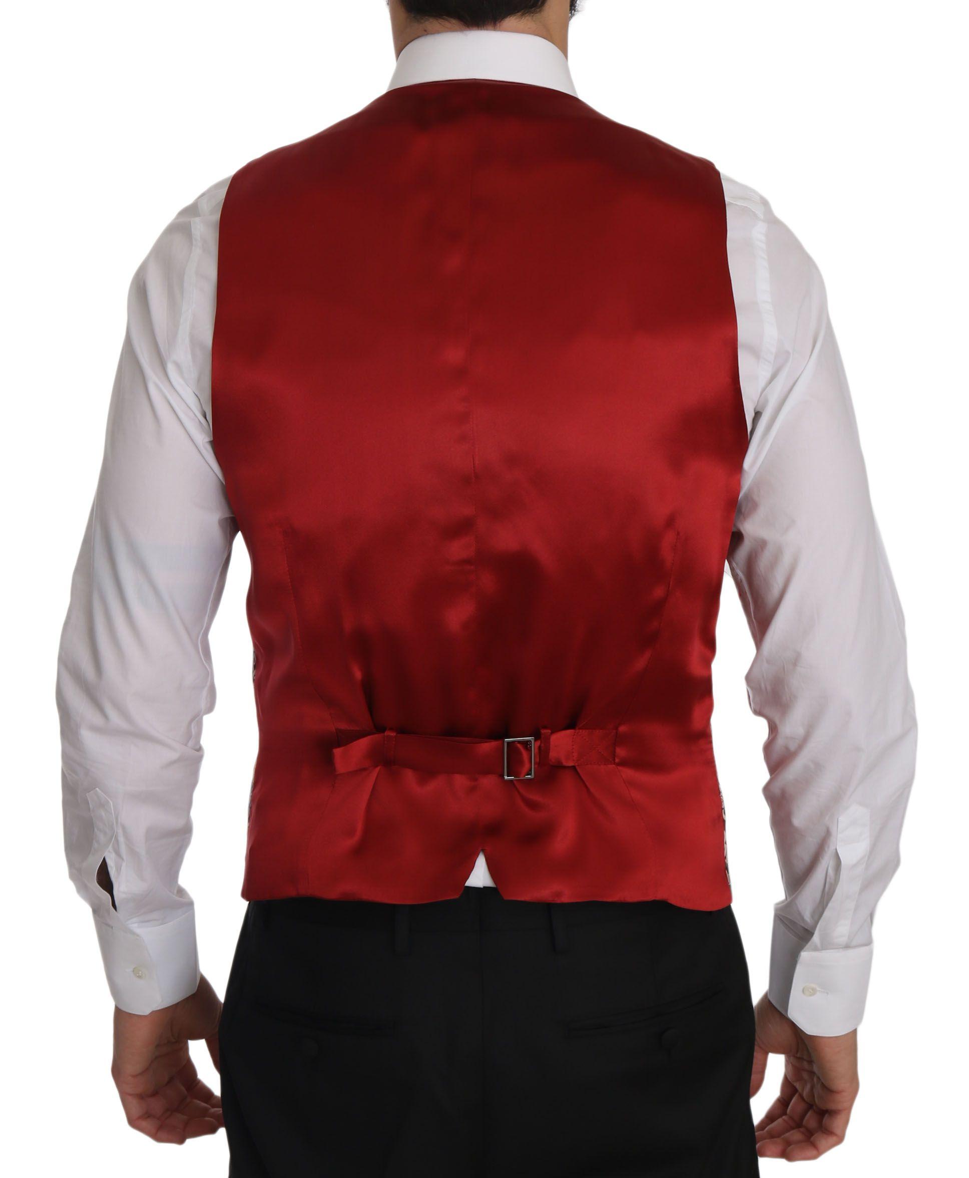 Dolce & Gabbana Red Gold Jacquard Slim Fit Vest