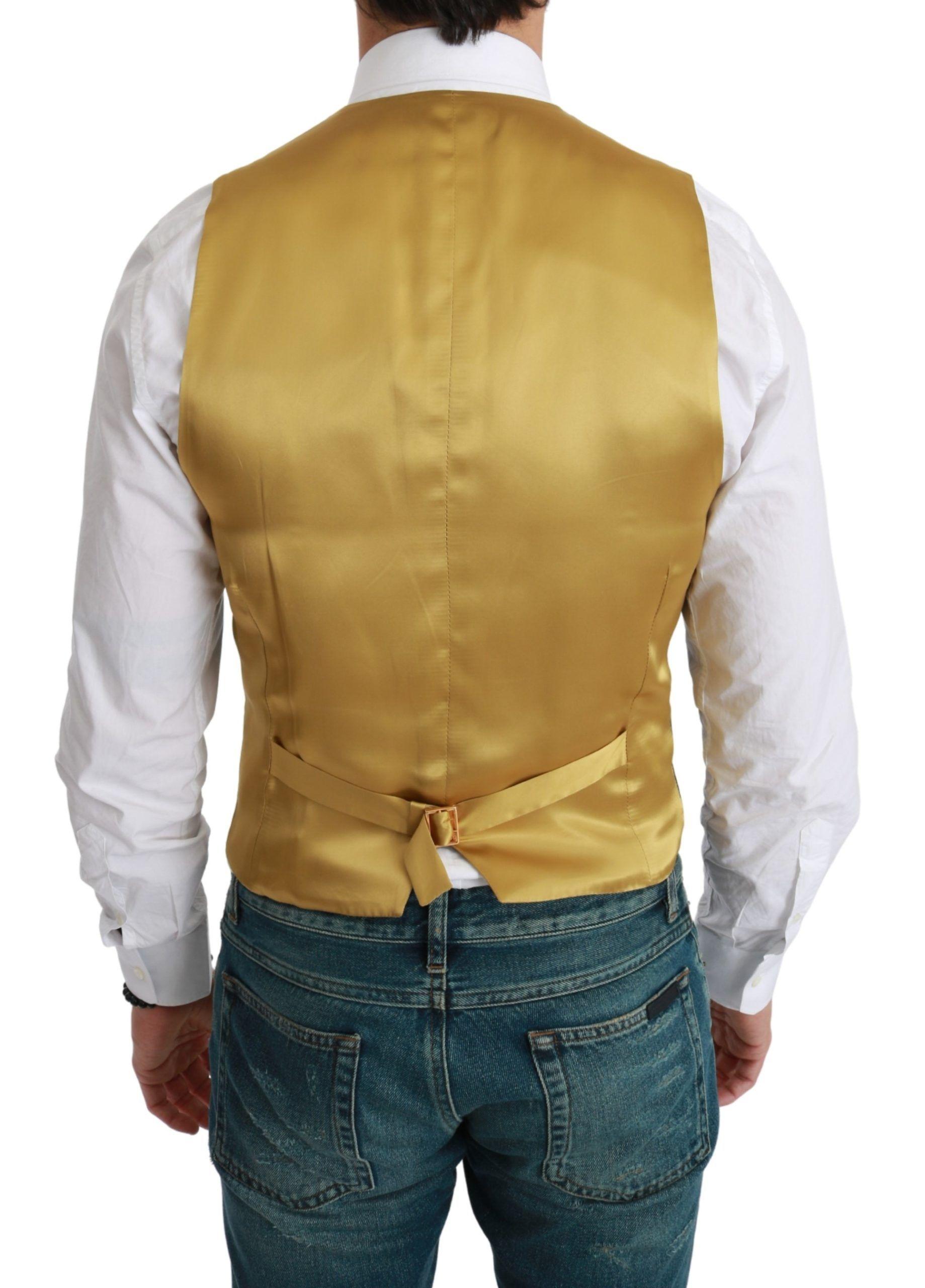 Dolce & Gabbana Black Gold Waistcoat Formal Wool Stretch Vest