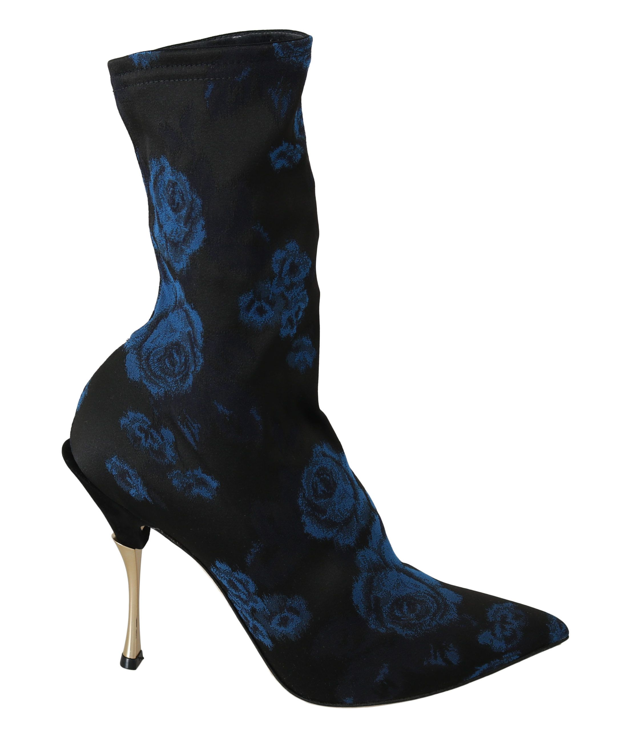 Dolce & Gabbana Black Stretch Blue Roses Ankle Boots Shoes
