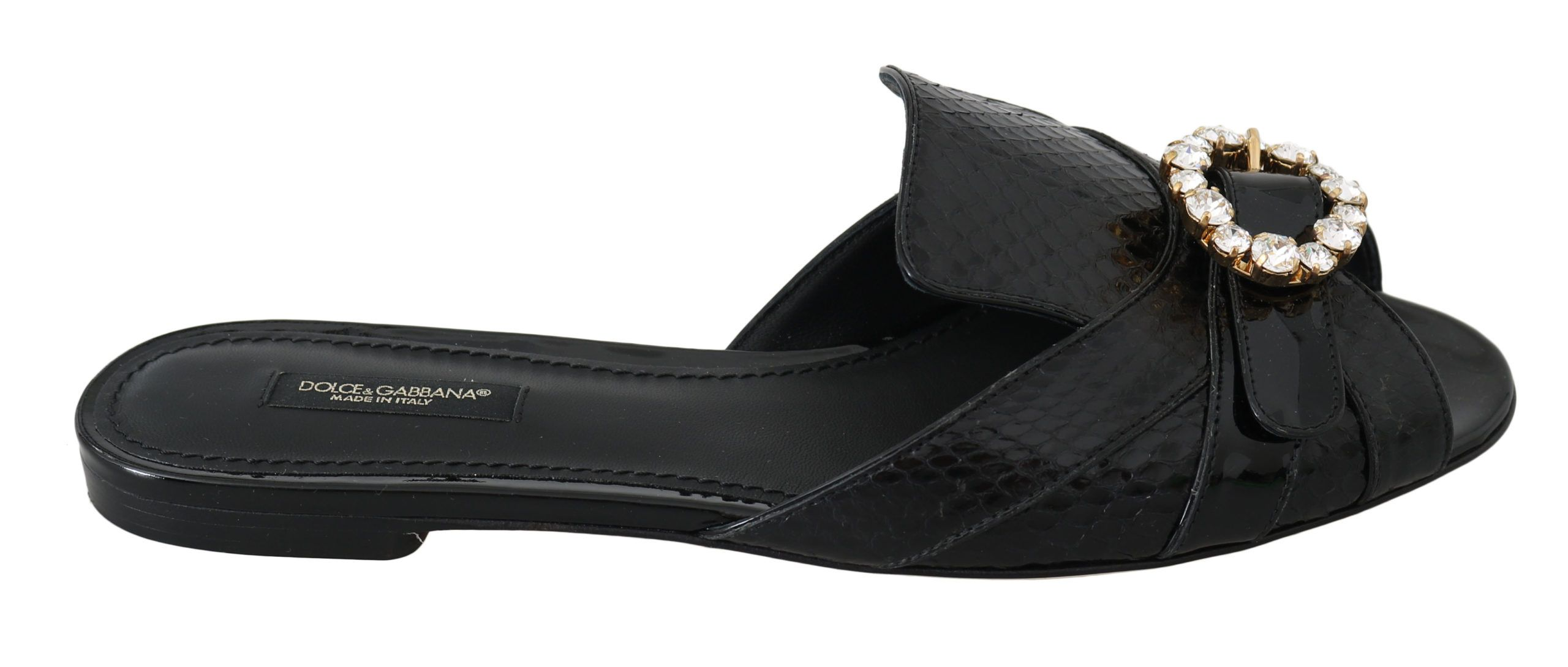 Dolce & Gabbana Black Ayers Leather Flats Slides Shoes