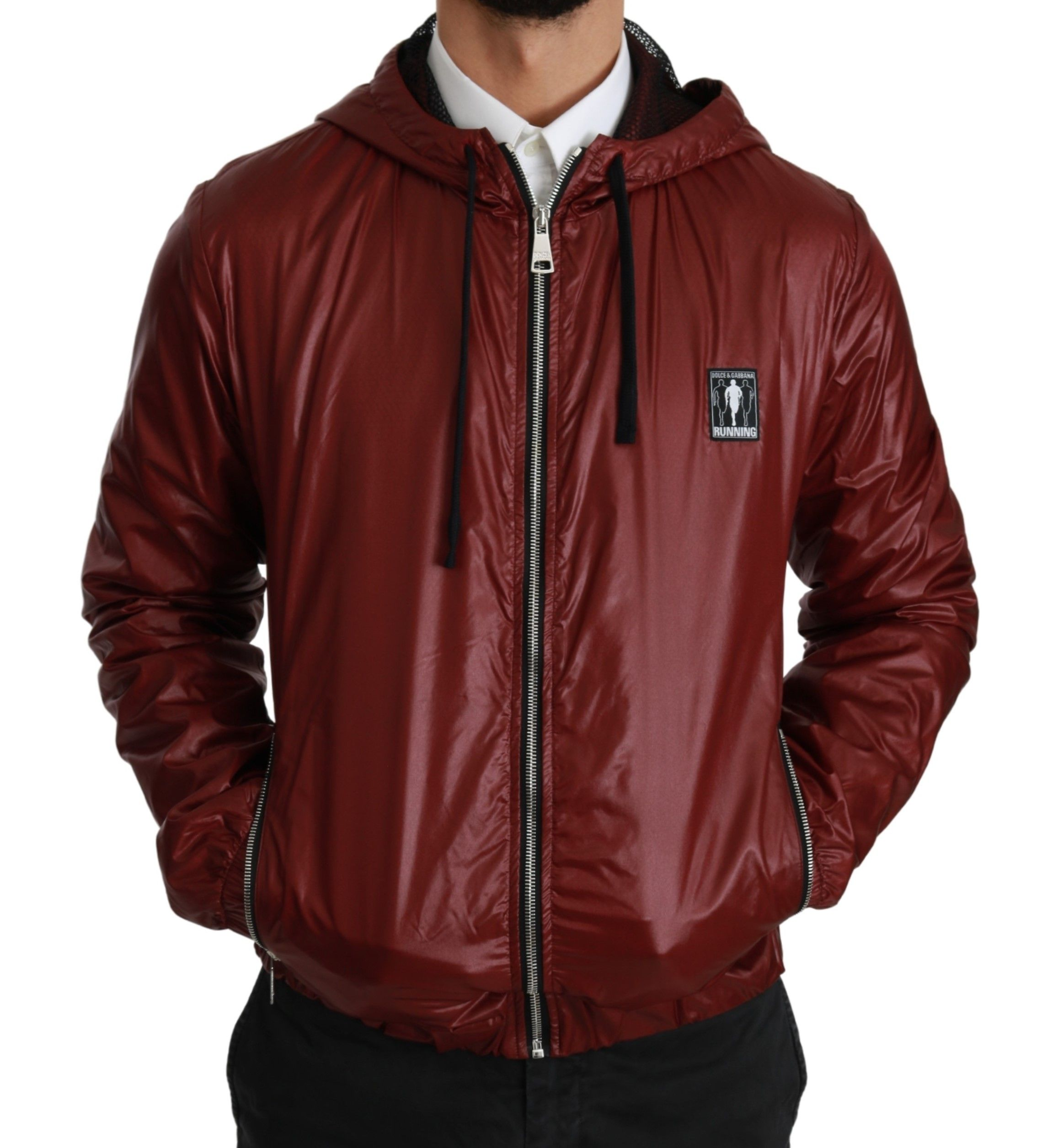 Dolce & Gabbana Black Brown Hooded Reversible Raincoat
