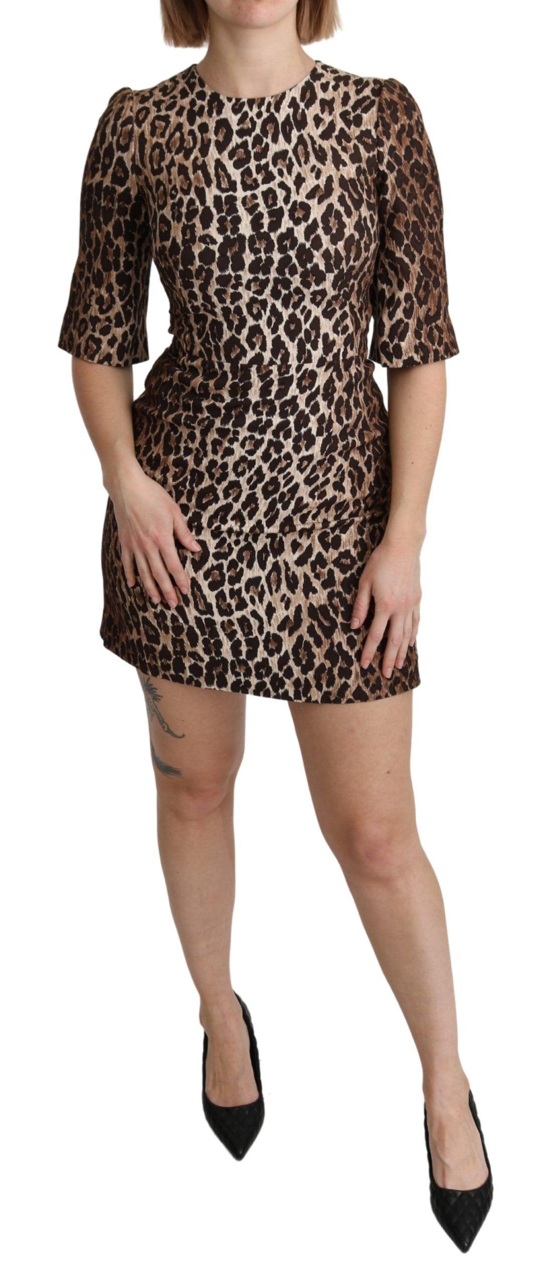 Dolce & Gabbana Brown Leopard Print Sheath Mini Stretch Dress