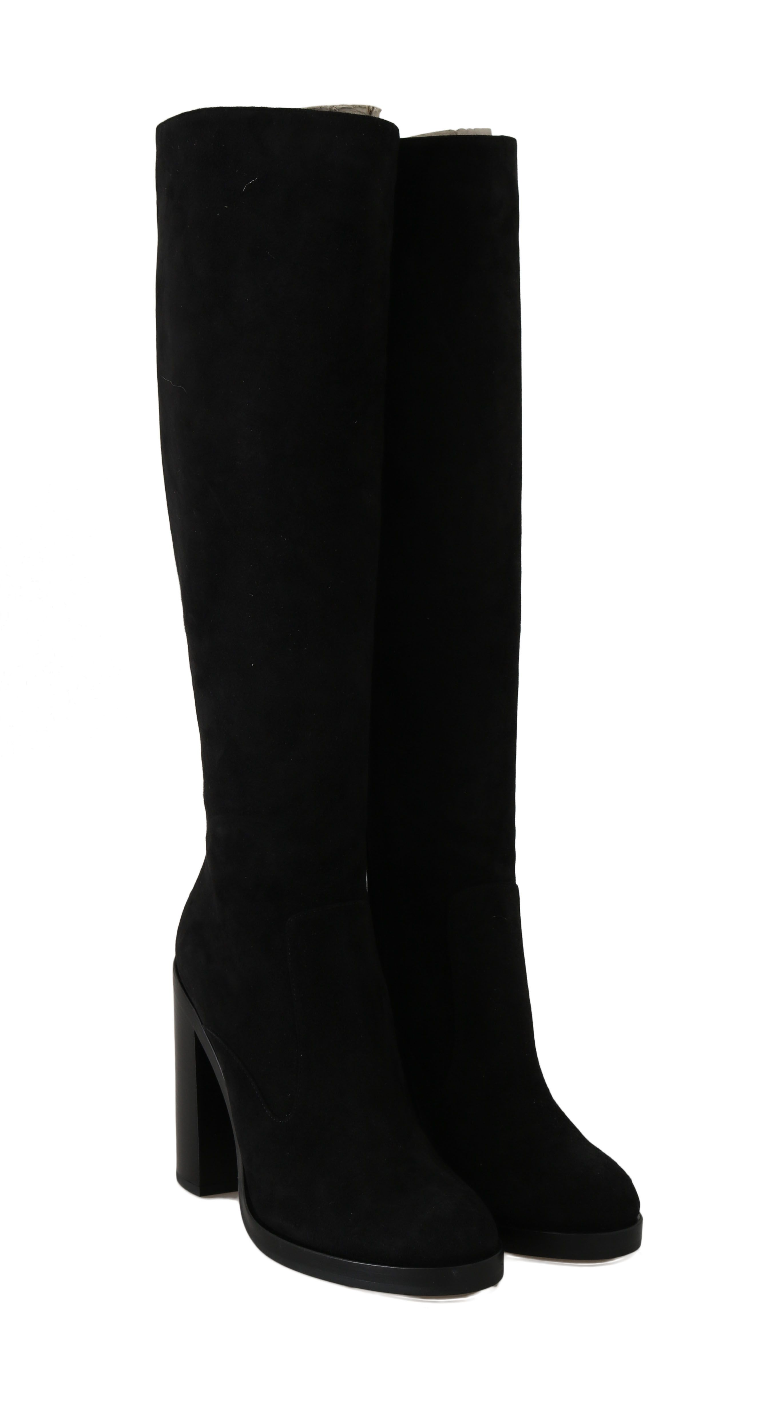 Dolce & Gabbana Black Suede Leather Knee High Boots